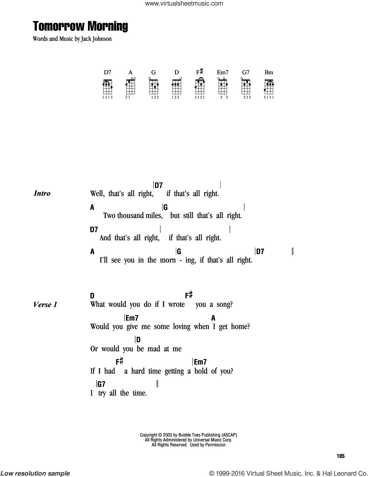 Tomorrow Morning sheet music for ukulele (chords) by Jack Johnson, intermediate skill level