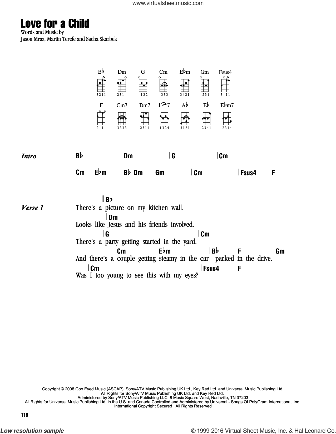 Love For A Child sheet music for ukulele (chords) by Jason Mraz, Martin Terefe and Sacha Skarbek, intermediate skill level