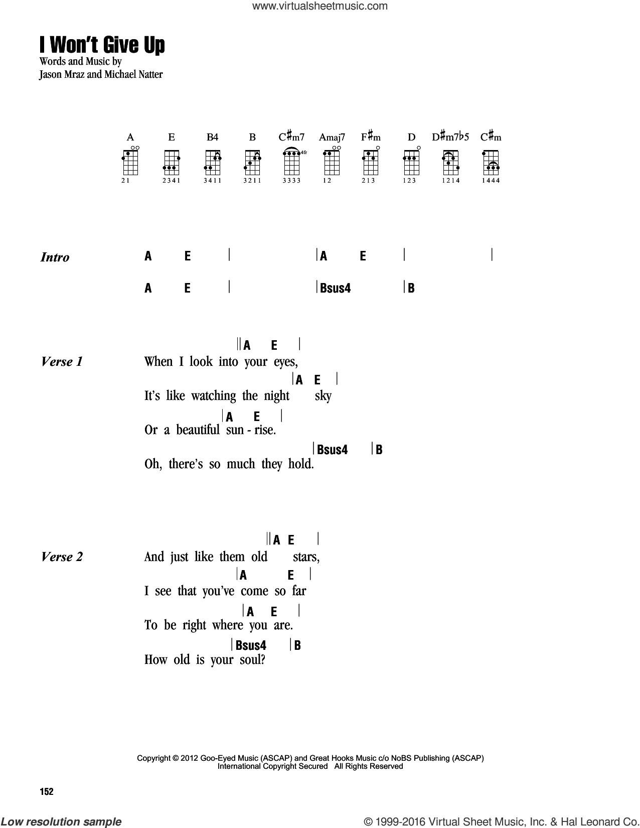 I Won't Give Up sheet music for ukulele (chords) by Jason Mraz and Michael Natter, intermediate skill level