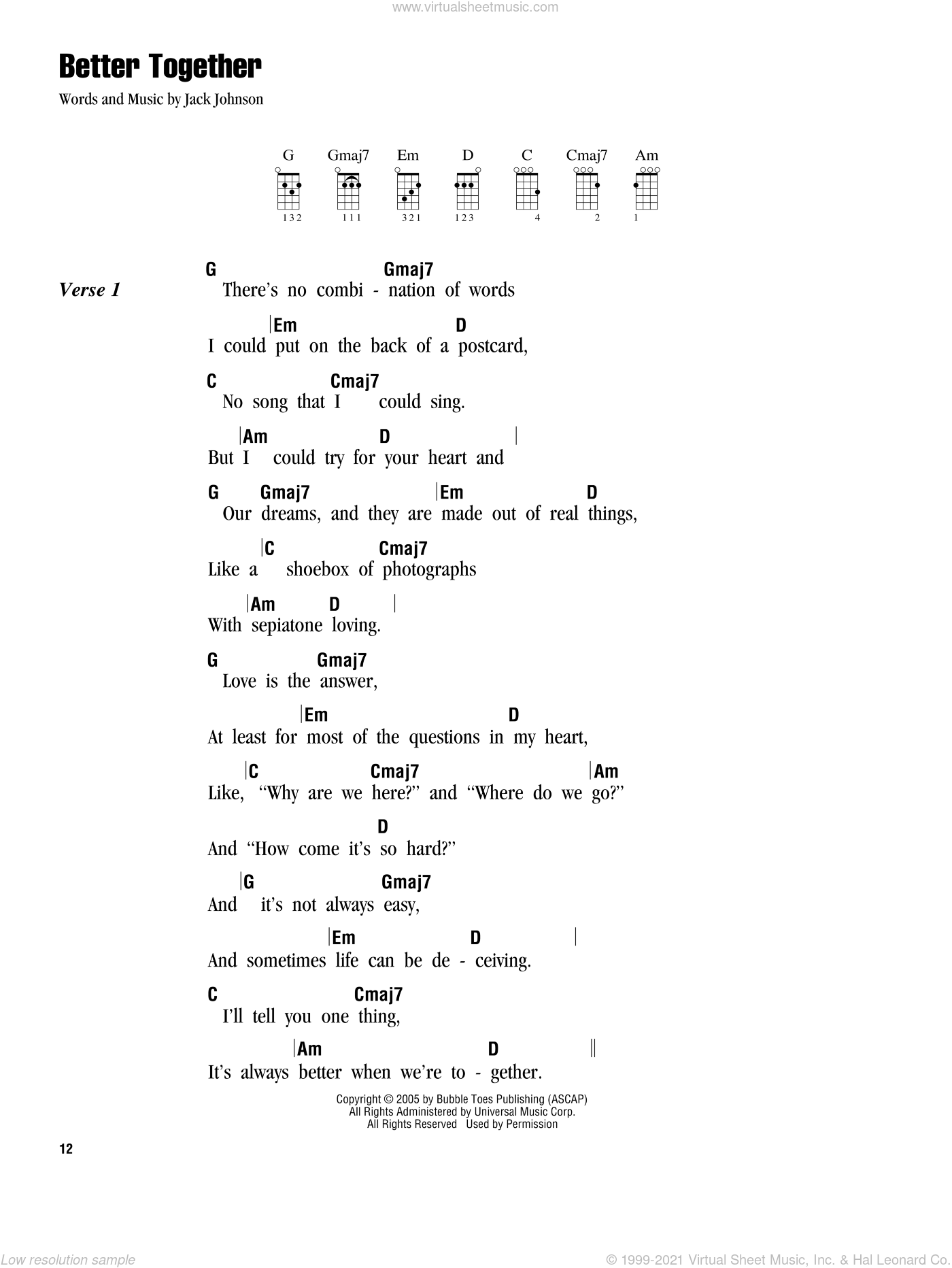 Better Together sheet music for ukulele (chords) by Jack Johnson, intermediate skill level