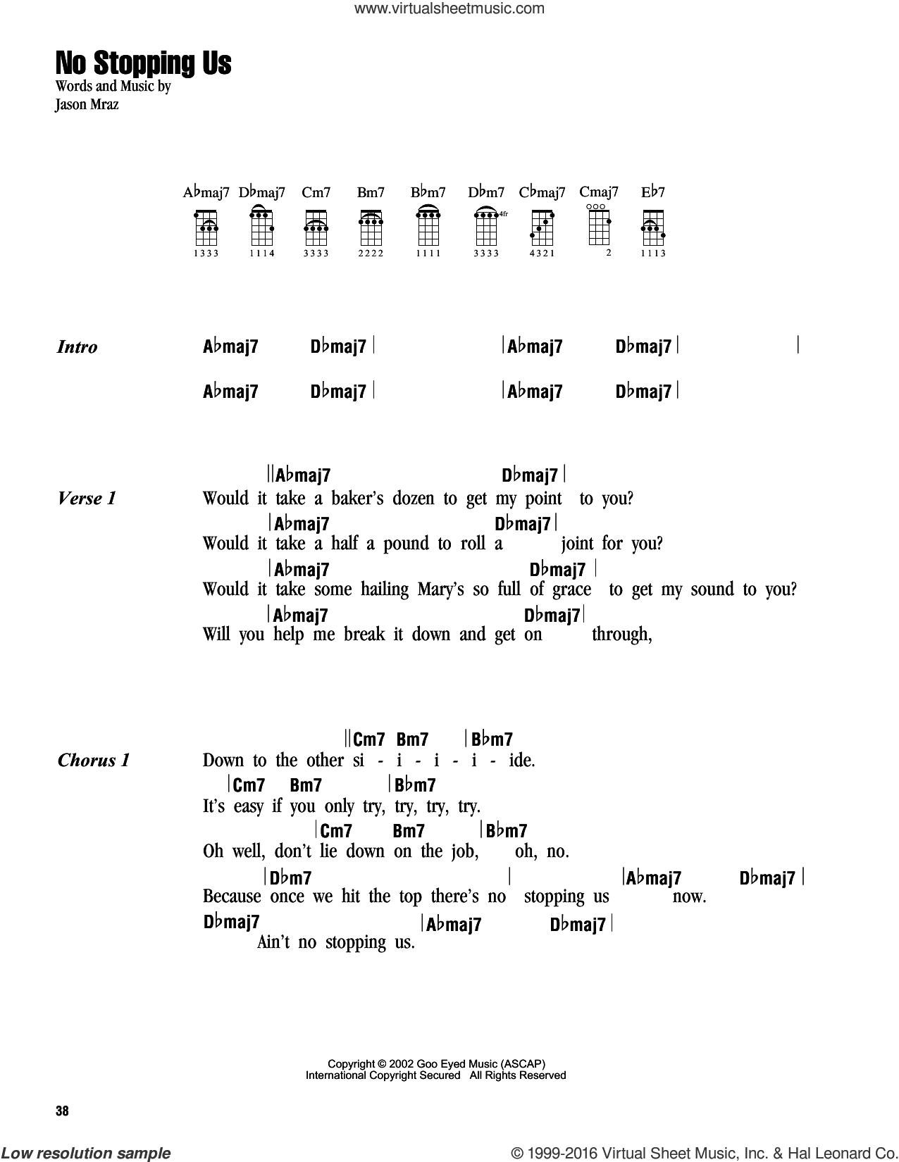 No Stopping Us sheet music for ukulele (chords) by Jason Mraz, intermediate skill level