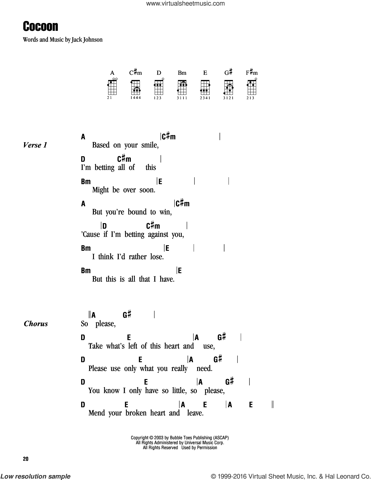 Cocoon sheet music for ukulele (chords) by Jack Johnson