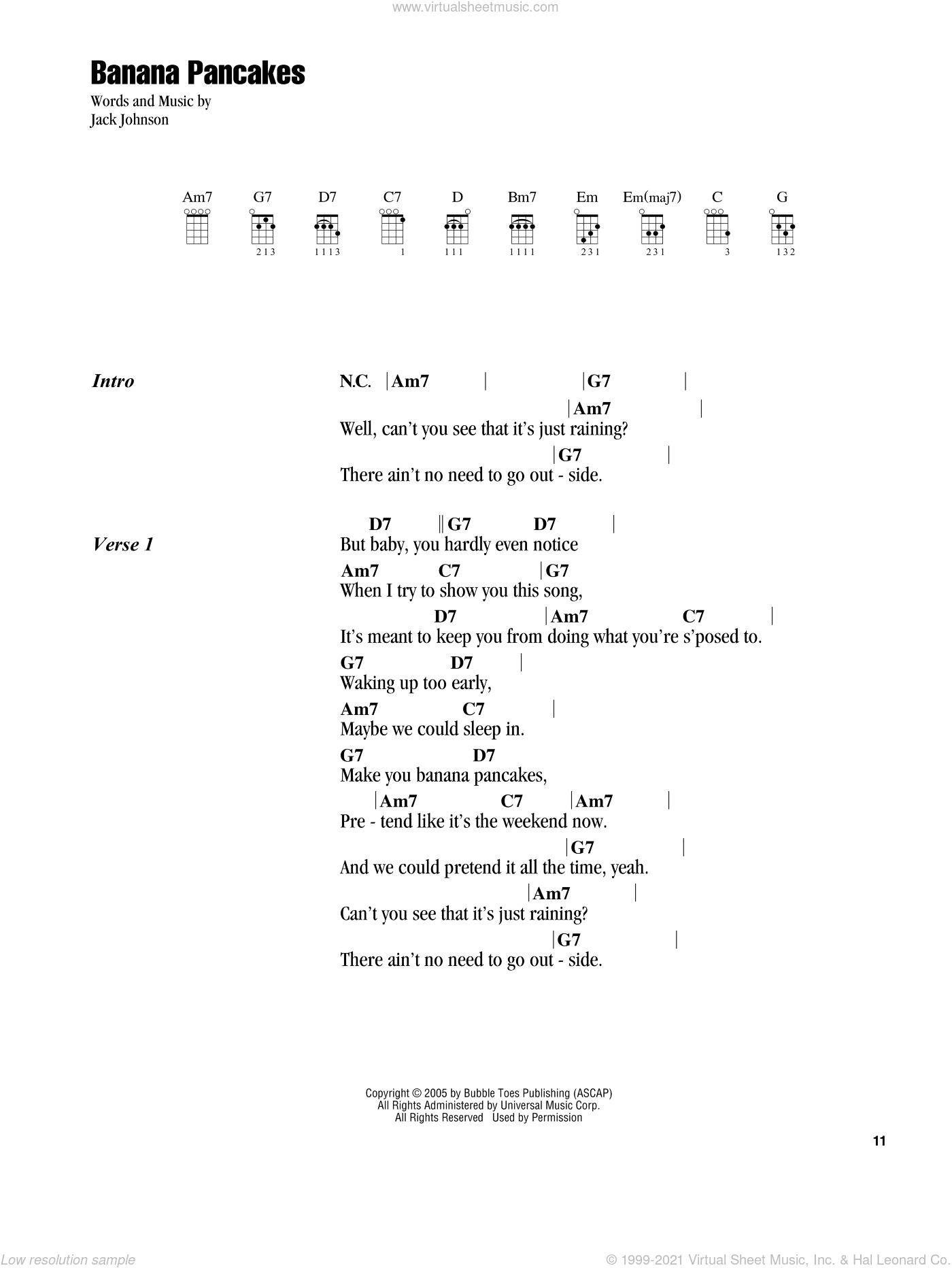 Banana Pancakes sheet music for ukulele (chords) by Jack Johnson, intermediate. Score Image Preview.