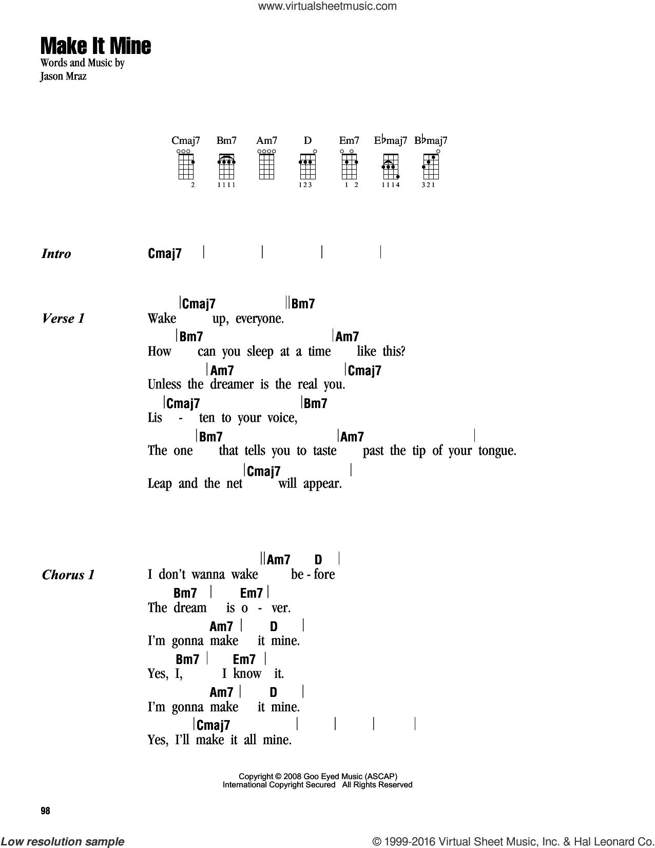 Make It Mine sheet music for ukulele (chords) by Jason Mraz, intermediate skill level