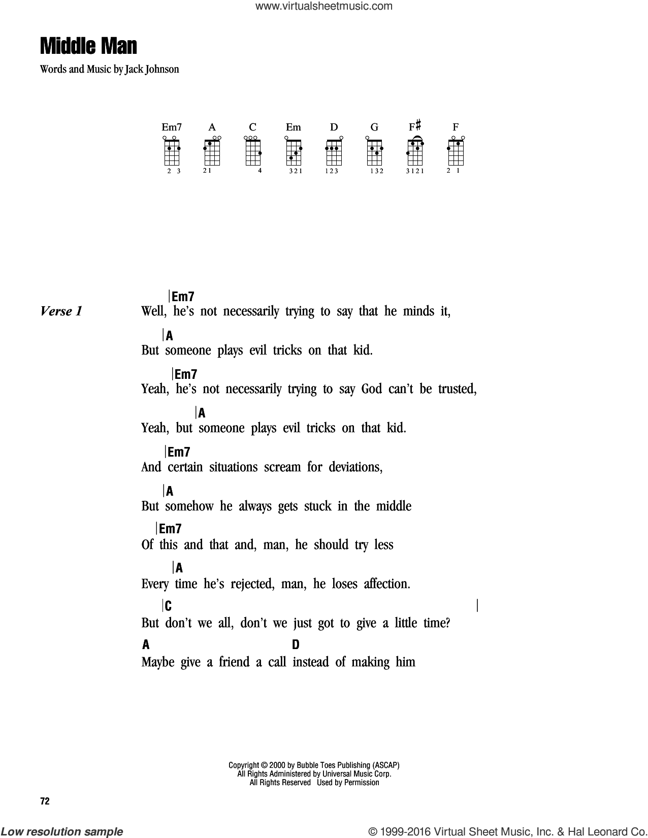 Middle Man sheet music for ukulele (chords) by Jack Johnson, intermediate