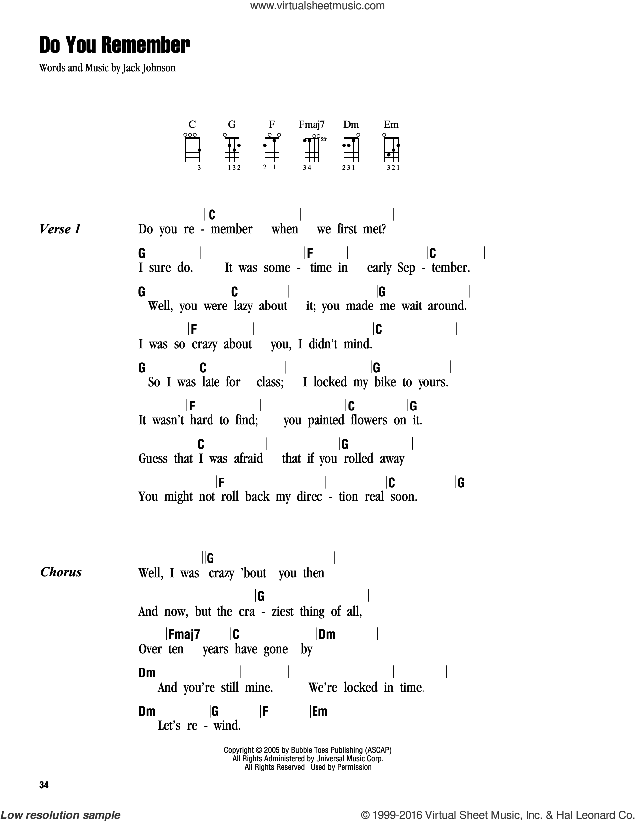Do You Remember sheet music for ukulele (chords) by Jack Johnson. Score Image Preview.