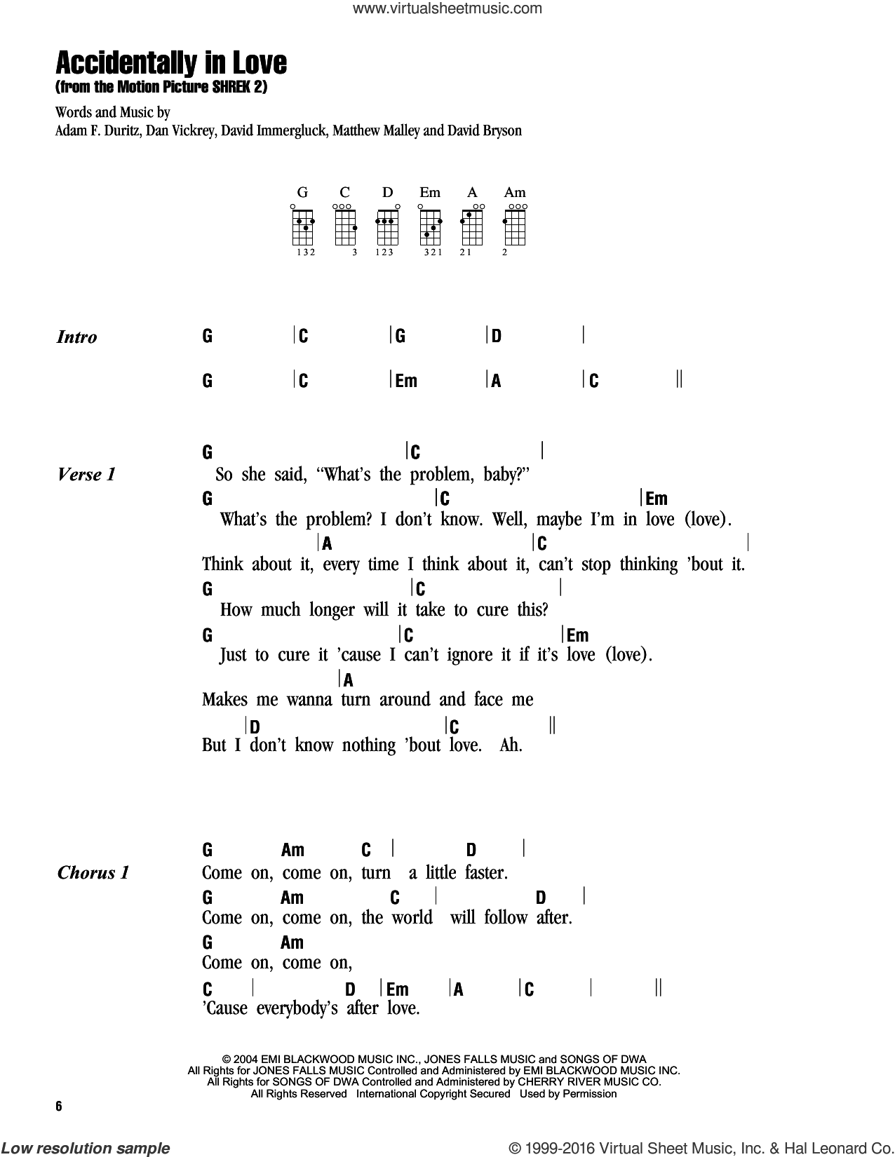 Accidentally In Love sheet music for ukulele (chords) by Counting Crows, Adam Duritz, Dan Vickrey, David Bryson, David Immergluck and Matthew Malley, intermediate skill level