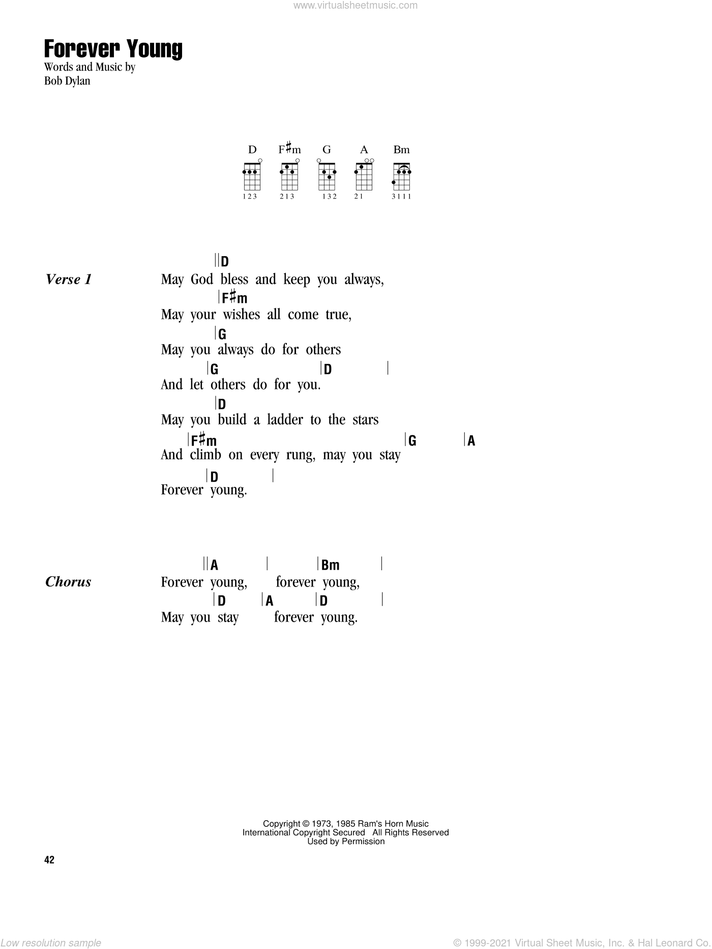 Forever Young sheet music for ukulele (chords) by Bob Dylan. Score Image Preview.