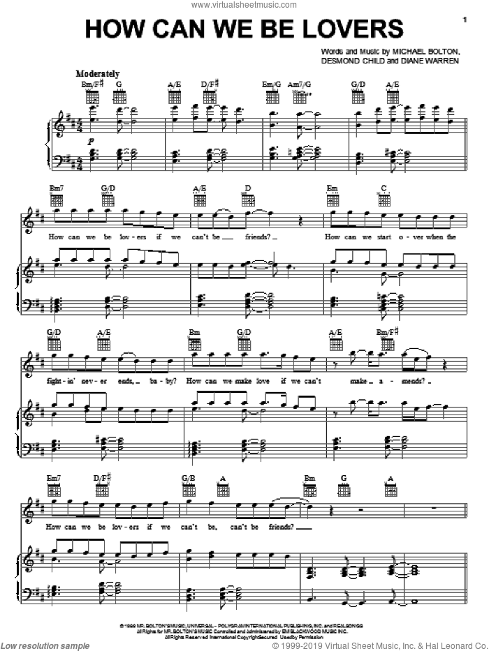 How Can We Be Lovers sheet music for voice, piano or guitar by Michael Bolton, Desmond Child and Diane Warren, intermediate skill level