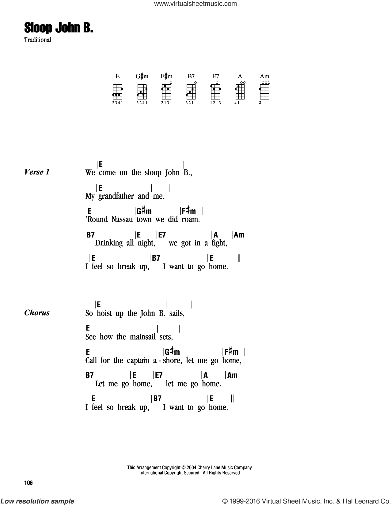 Sloop John B. sheet music for ukulele (chords), intermediate skill level