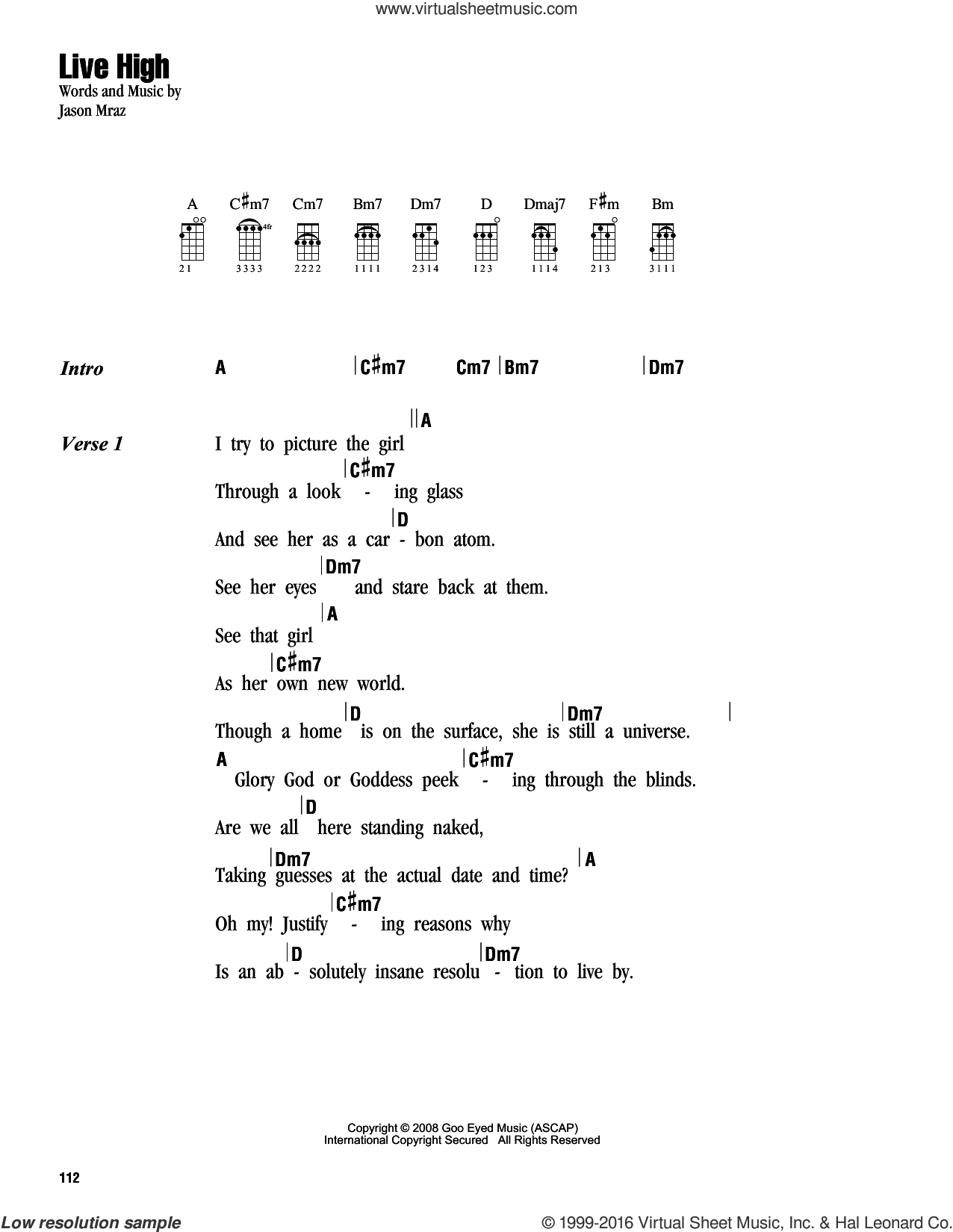 Live High sheet music for ukulele (chords) by Jason Mraz. Score Image Preview.