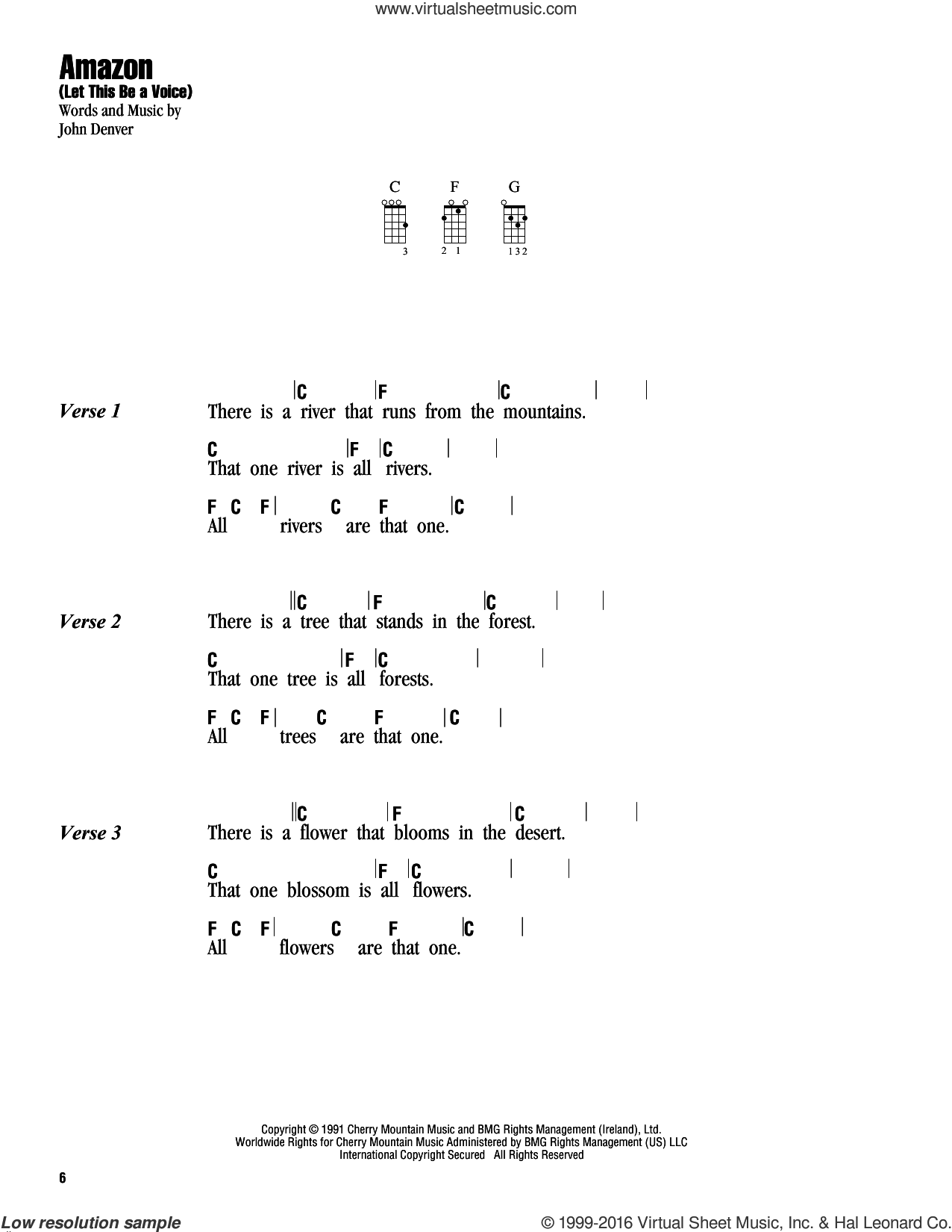 Amazon (Let This Be A Voice) sheet music for ukulele (chords) by John Denver, intermediate skill level