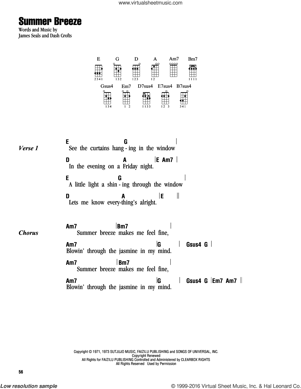 Summer Breeze sheet music for ukulele (chords) by James Seals. Score Image Preview.