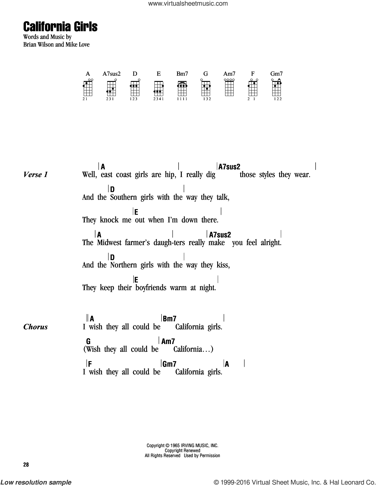 California Girls sheet music for ukulele (chords) by The Beach Boys, David Lee Roth, Brian Wilson and Mike Love, intermediate skill level