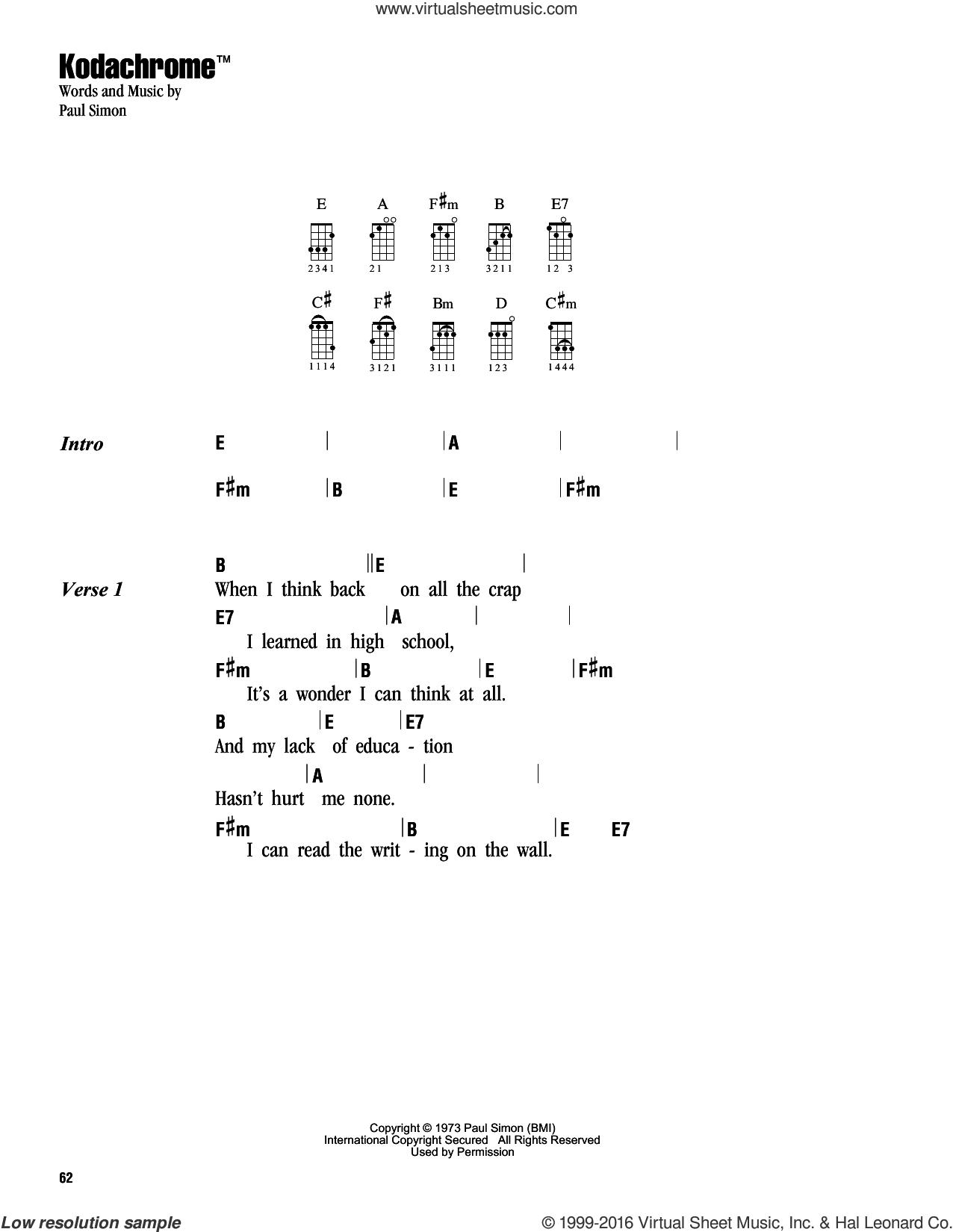 Kodachrome TM sheet music for ukulele (chords) by Simon & Garfunkel and Paul Simon, intermediate skill level