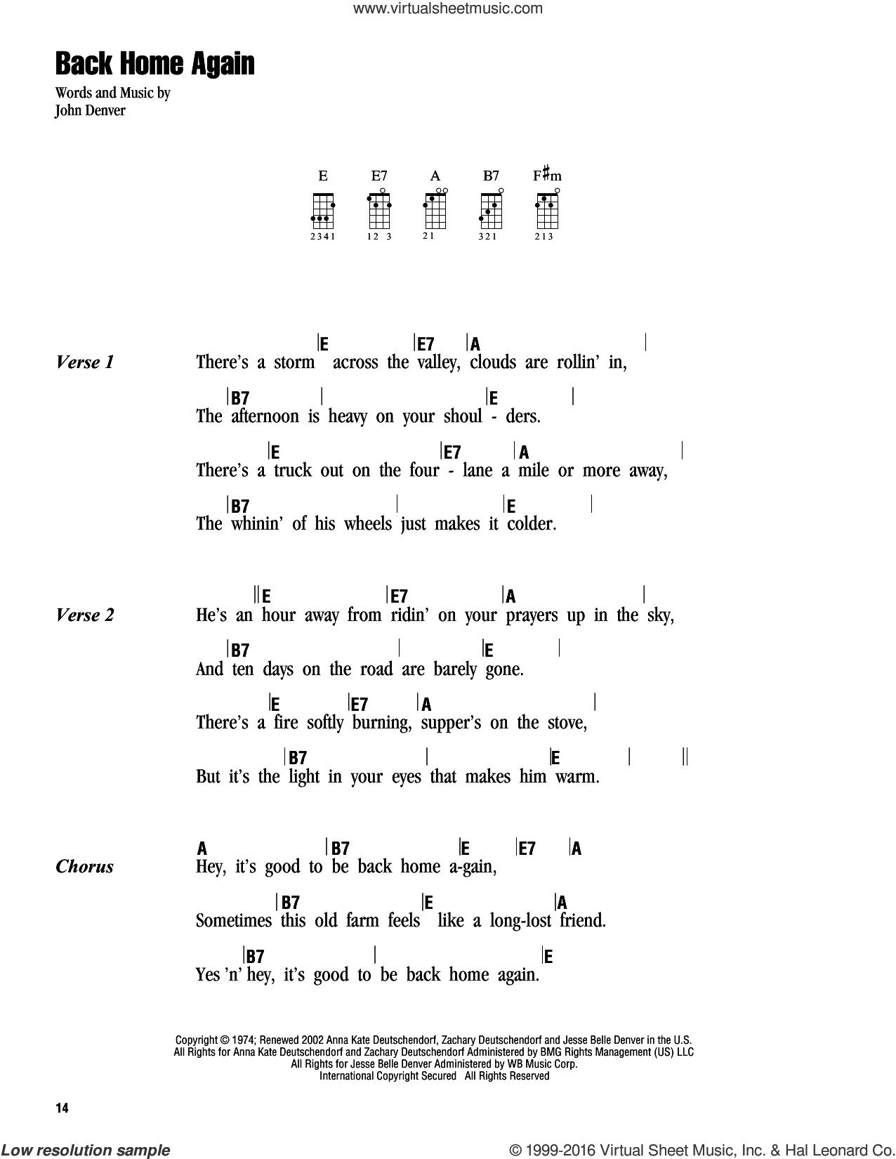 Back Home Again sheet music for ukulele (chords) by John Denver. Score Image Preview.