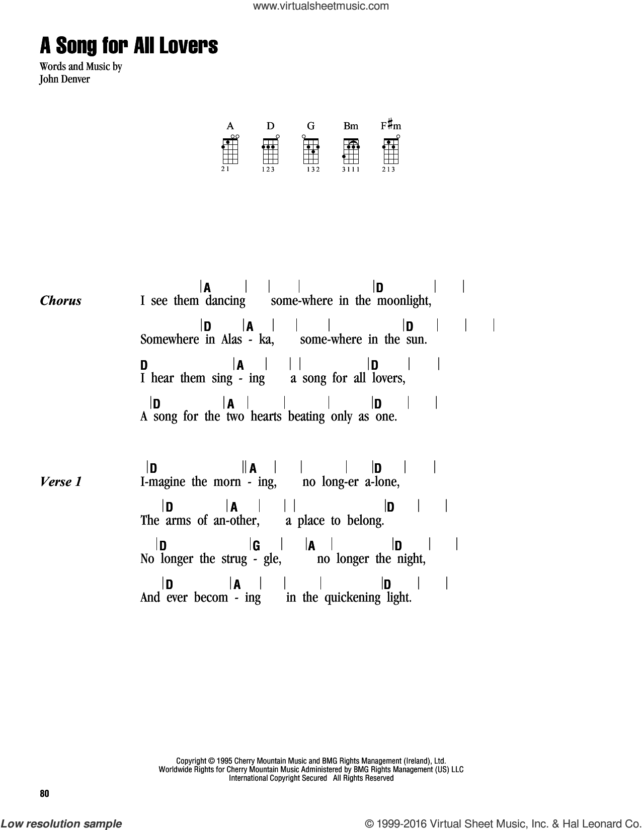 A Song For All Lovers sheet music for ukulele (chords) by John Denver. Score Image Preview.