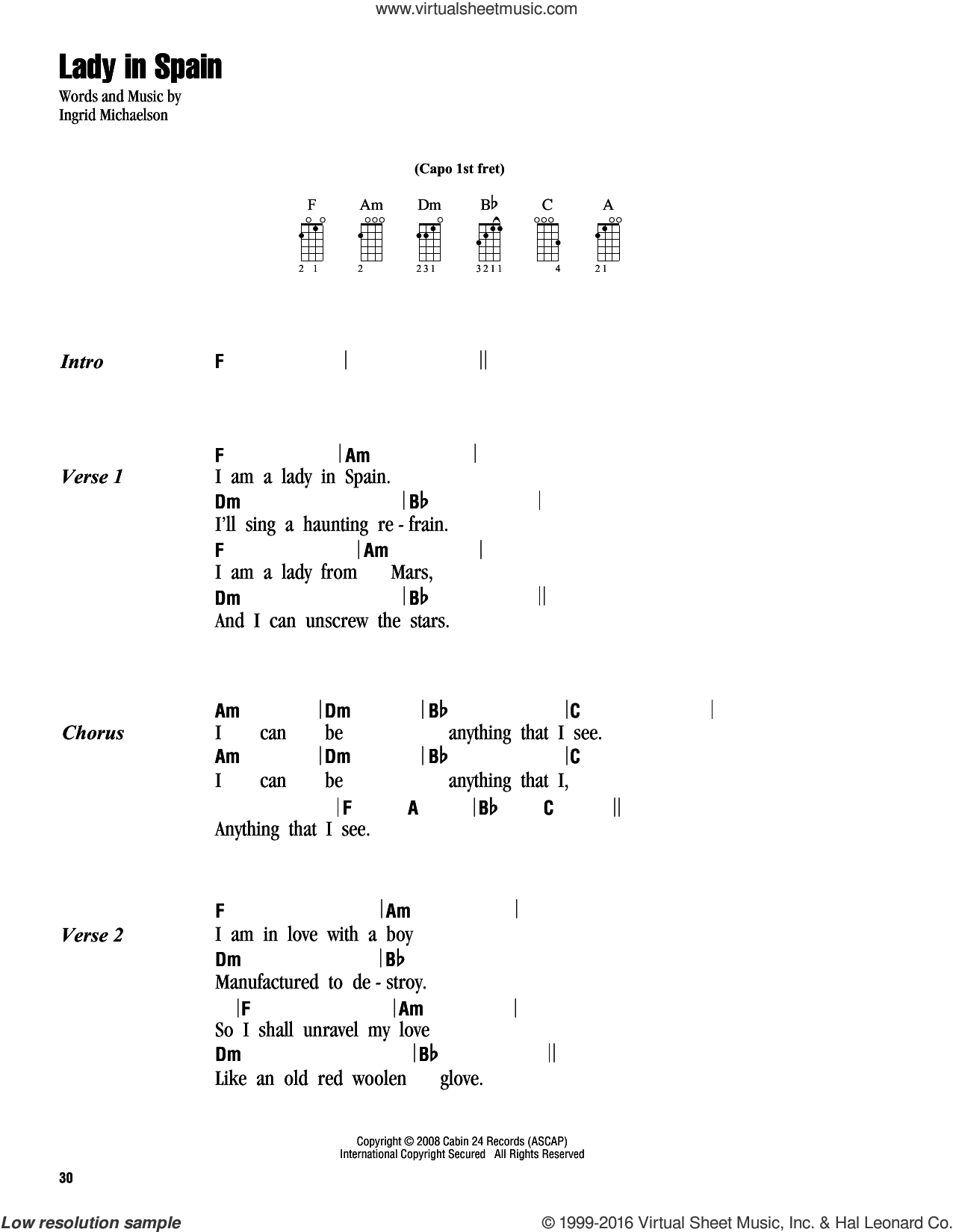 Lady In Spain sheet music for ukulele (chords) by Ingrid Michaelson, intermediate skill level