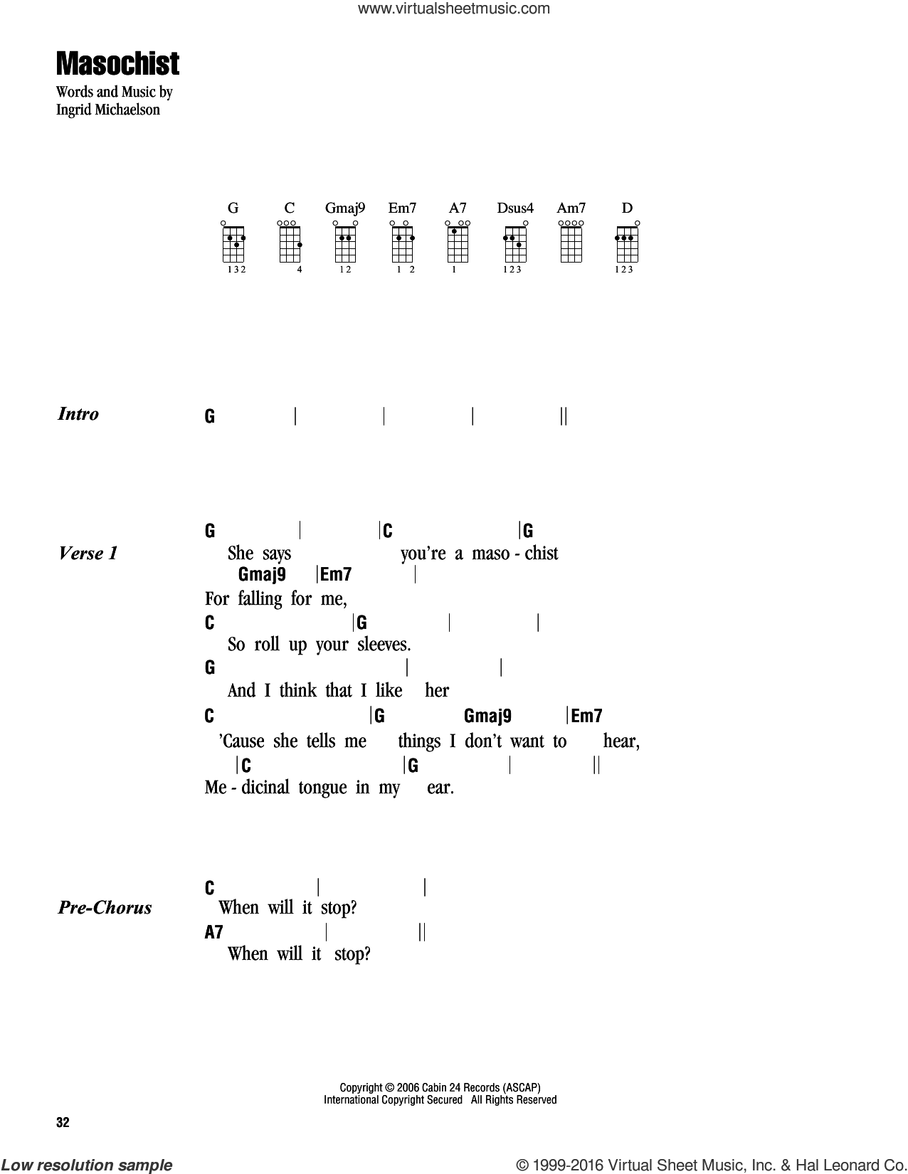 Masochist sheet music for ukulele (chords) by Ingrid Michaelson, intermediate. Score Image Preview.