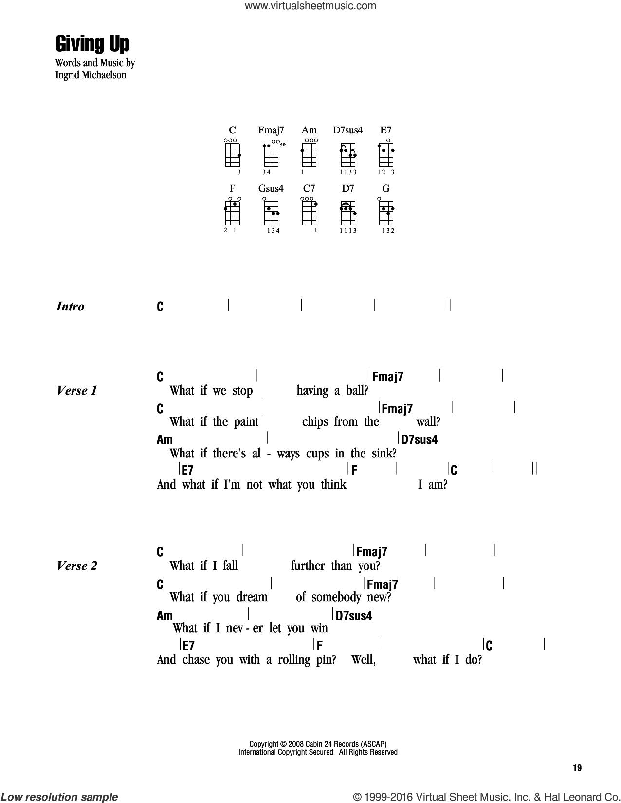 Giving Up sheet music for ukulele (chords) by Ingrid Michaelson, intermediate skill level