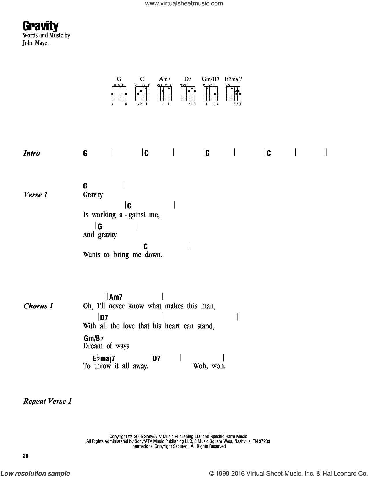 Gravity sheet music for guitar (chords) by John Mayer, intermediate guitar (chords). Score Image Preview.