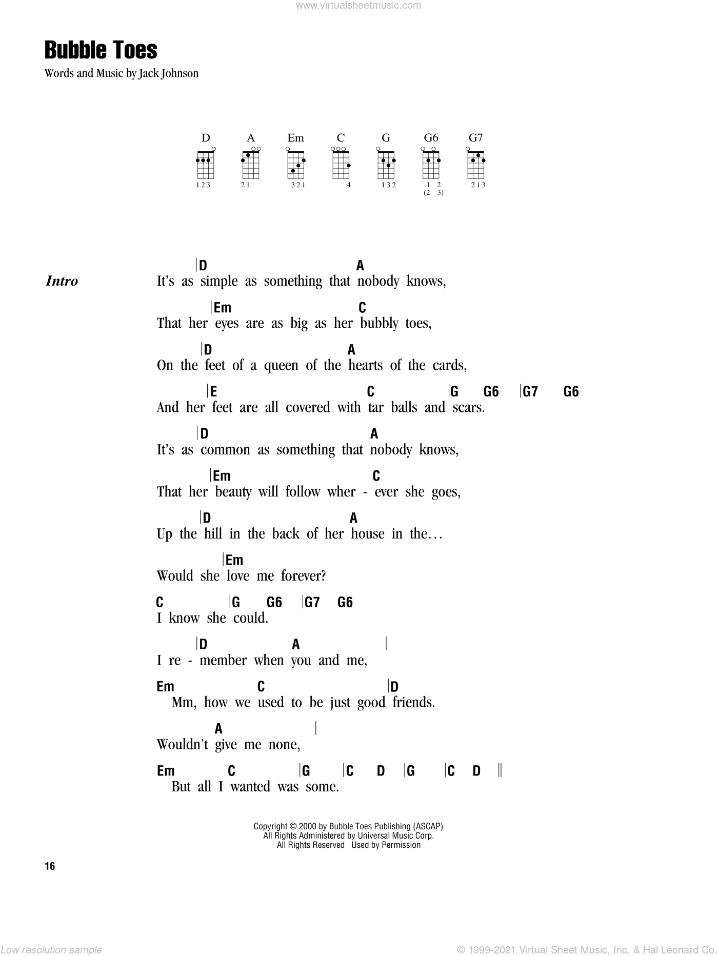 Bubble Toes sheet music for ukulele (chords) by Jack Johnson, intermediate