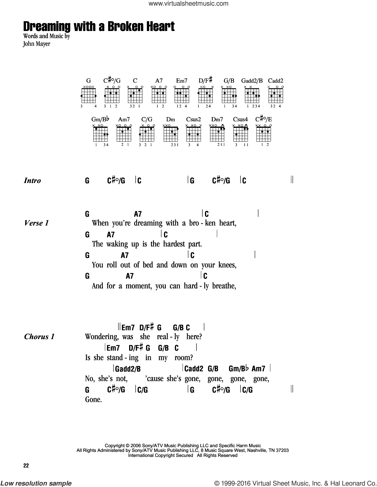 Dreaming With A Broken Heart sheet music for guitar (chords) by John Mayer, intermediate. Score Image Preview.