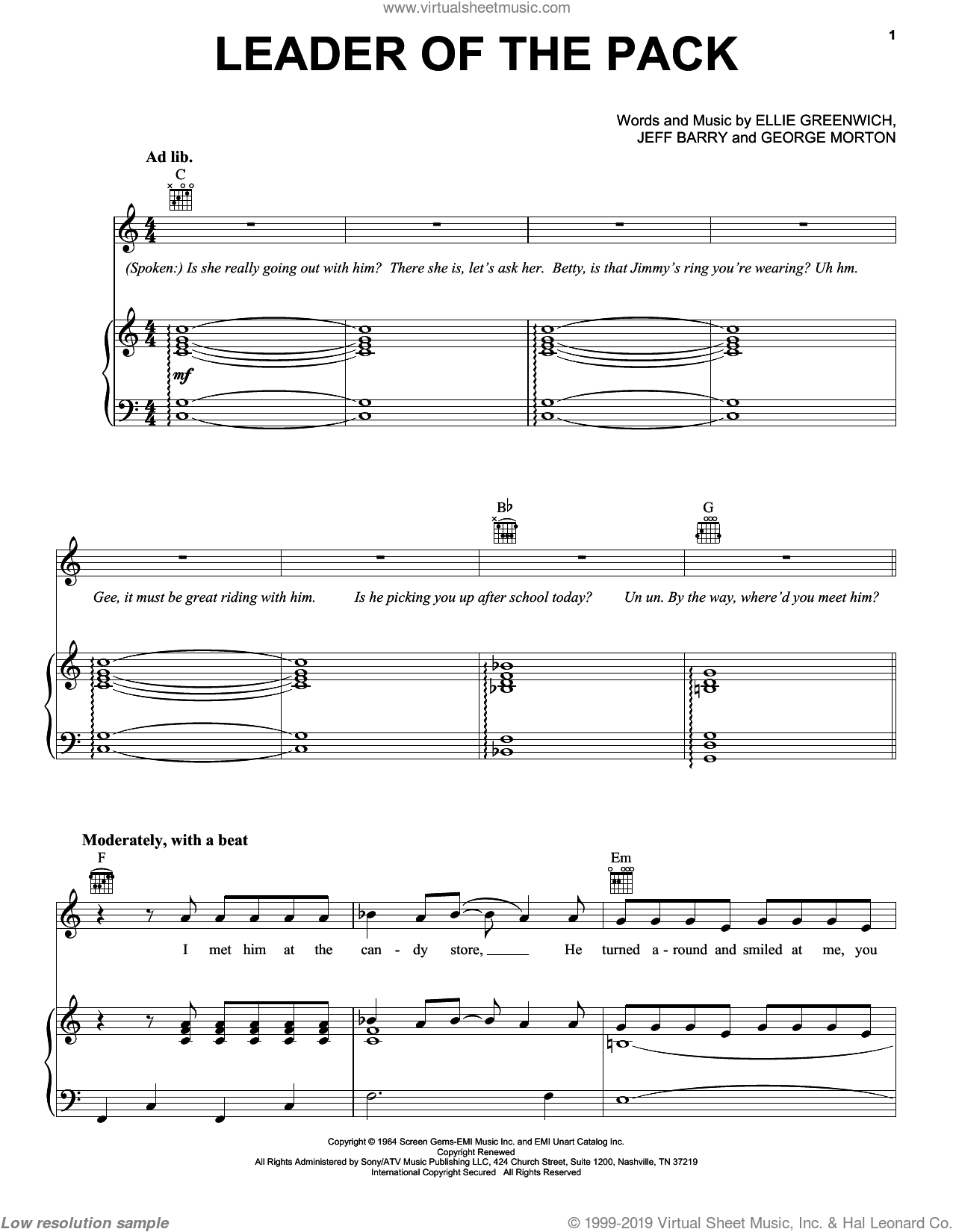 Leader Of The Pack sheet music for voice, piano or guitar by Jeff Barry and Ellie Greenwich. Score Image Preview.