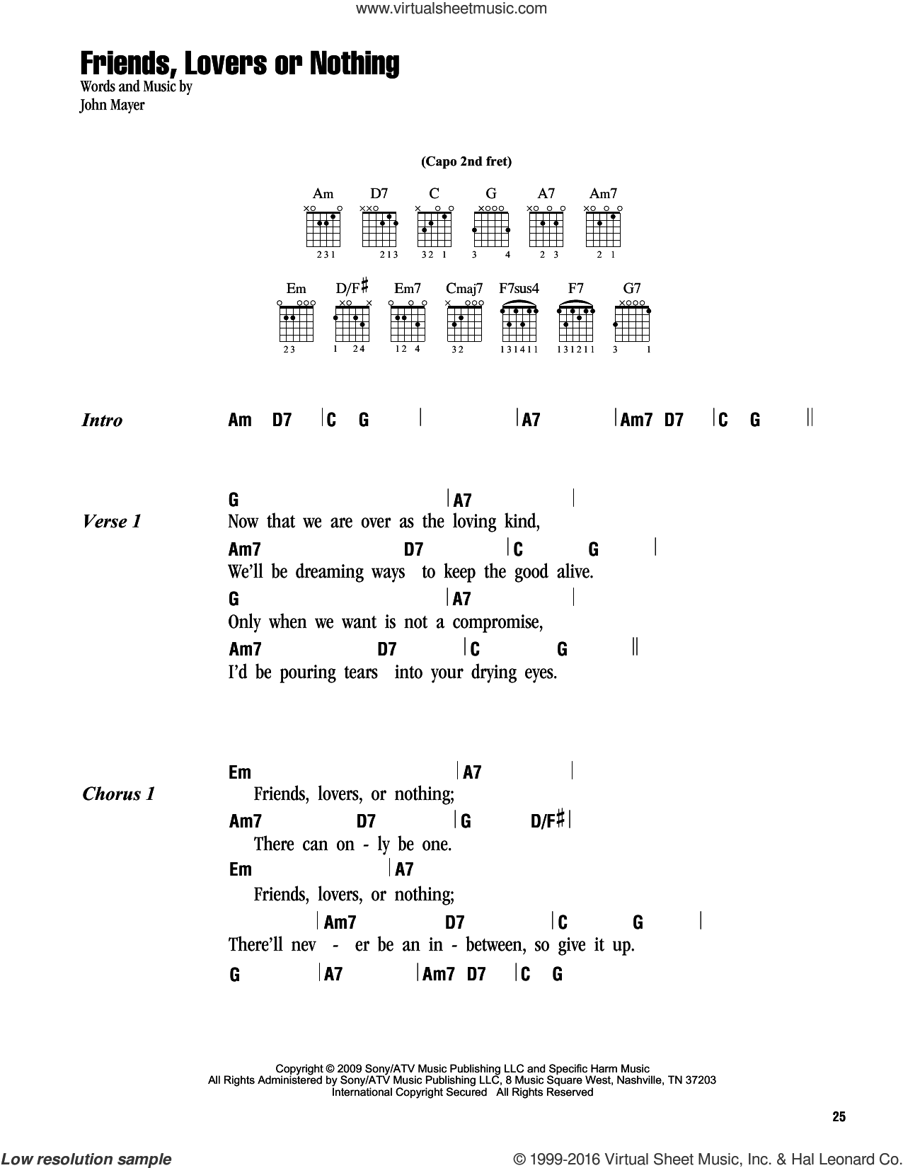 Mayer Friends Lovers Or Nothing Sheet Music For Guitar Chords