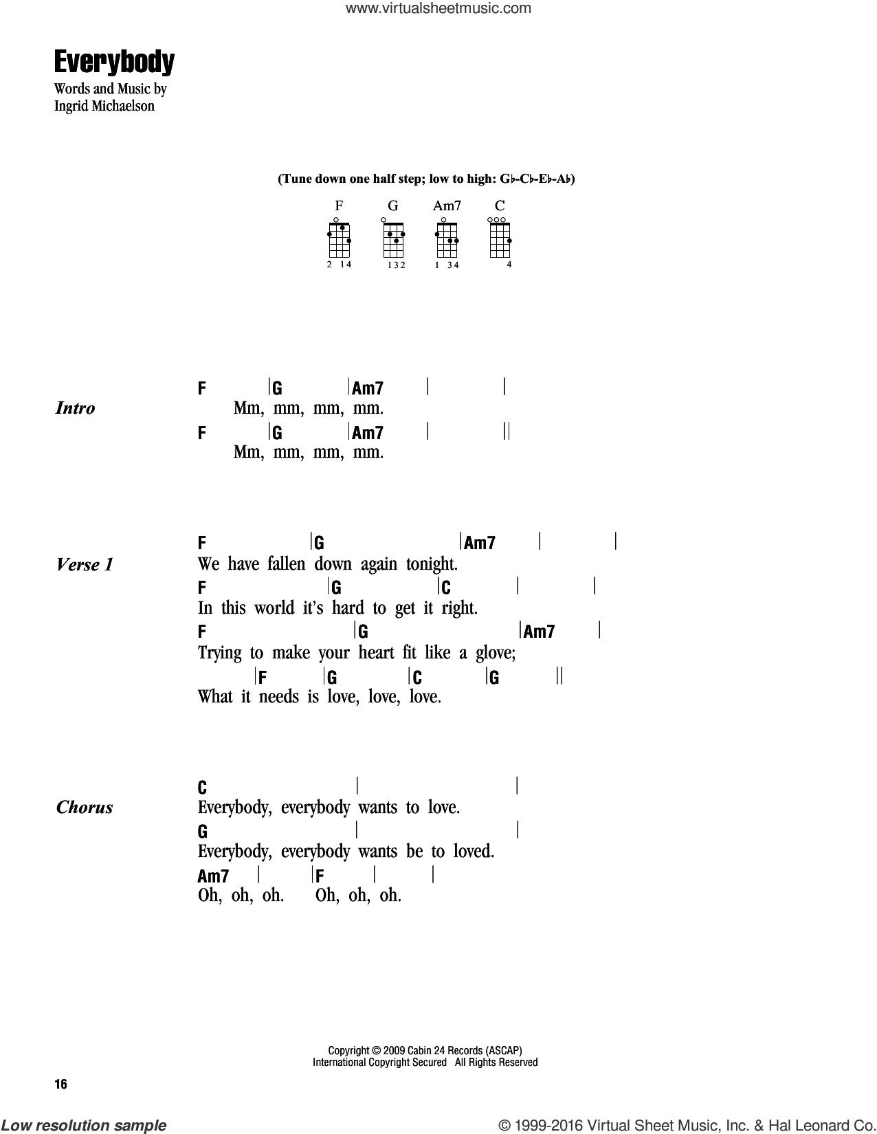 Michaelson - Everybody sheet music for ukulele (chords) [PDF]