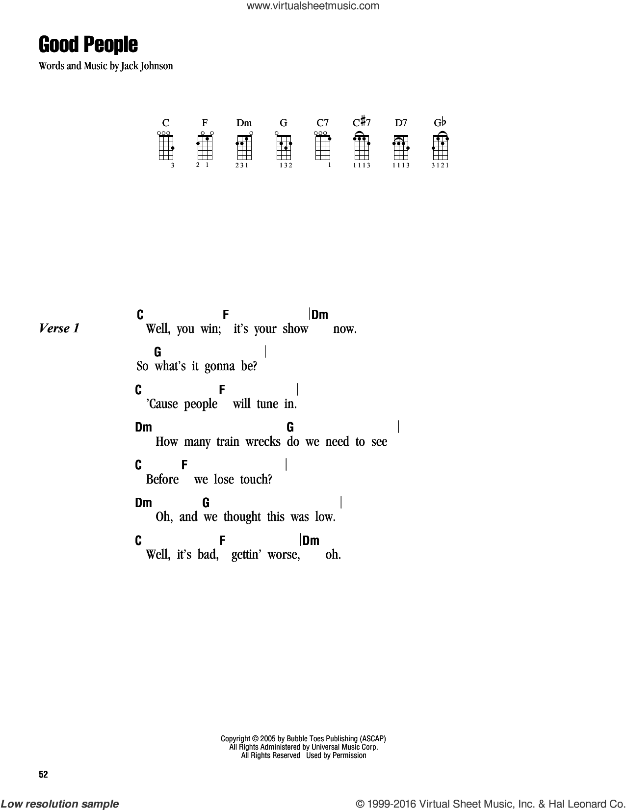 Good People sheet music for ukulele (chords) by Jack Johnson, intermediate