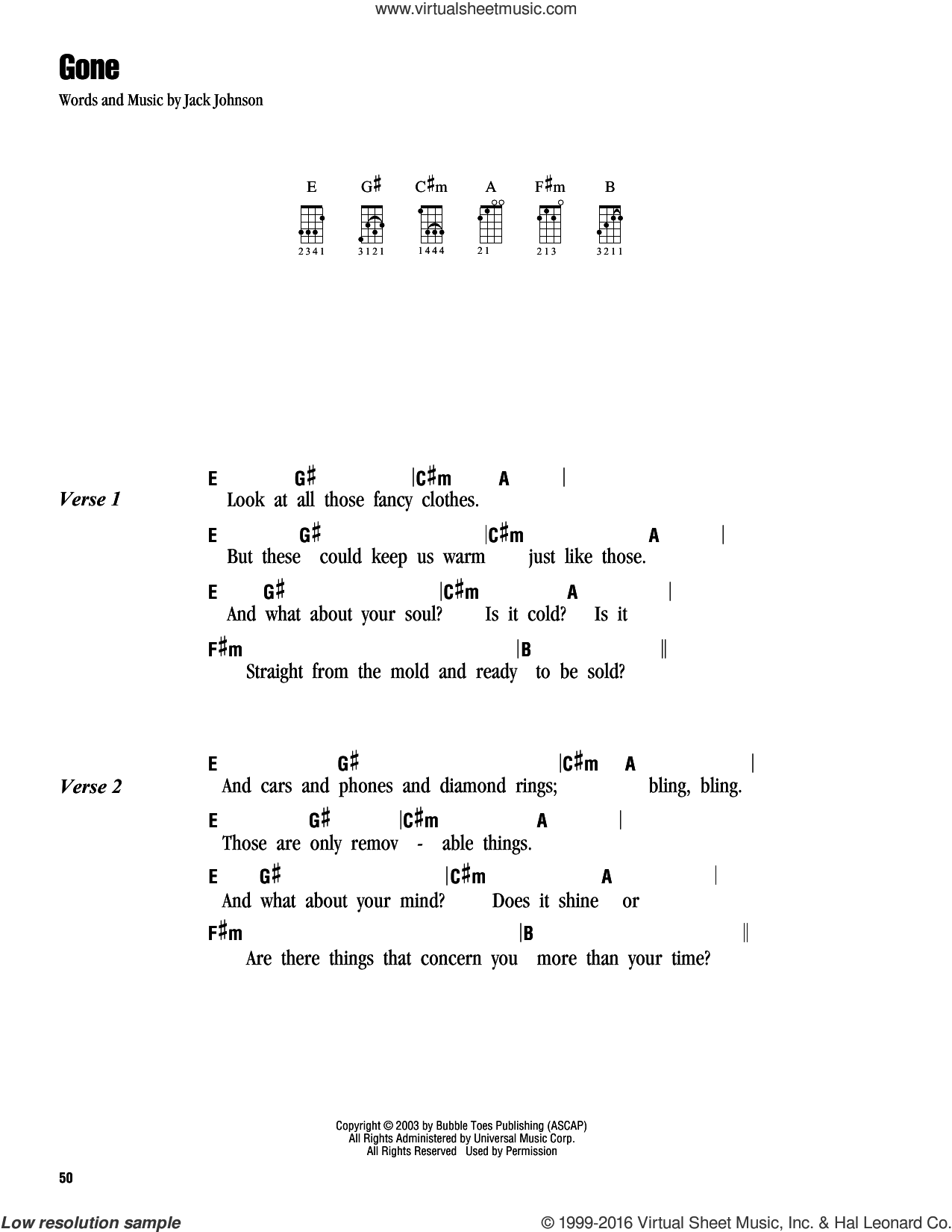 Gone sheet music for ukulele (chords) by Jack Johnson. Score Image Preview.