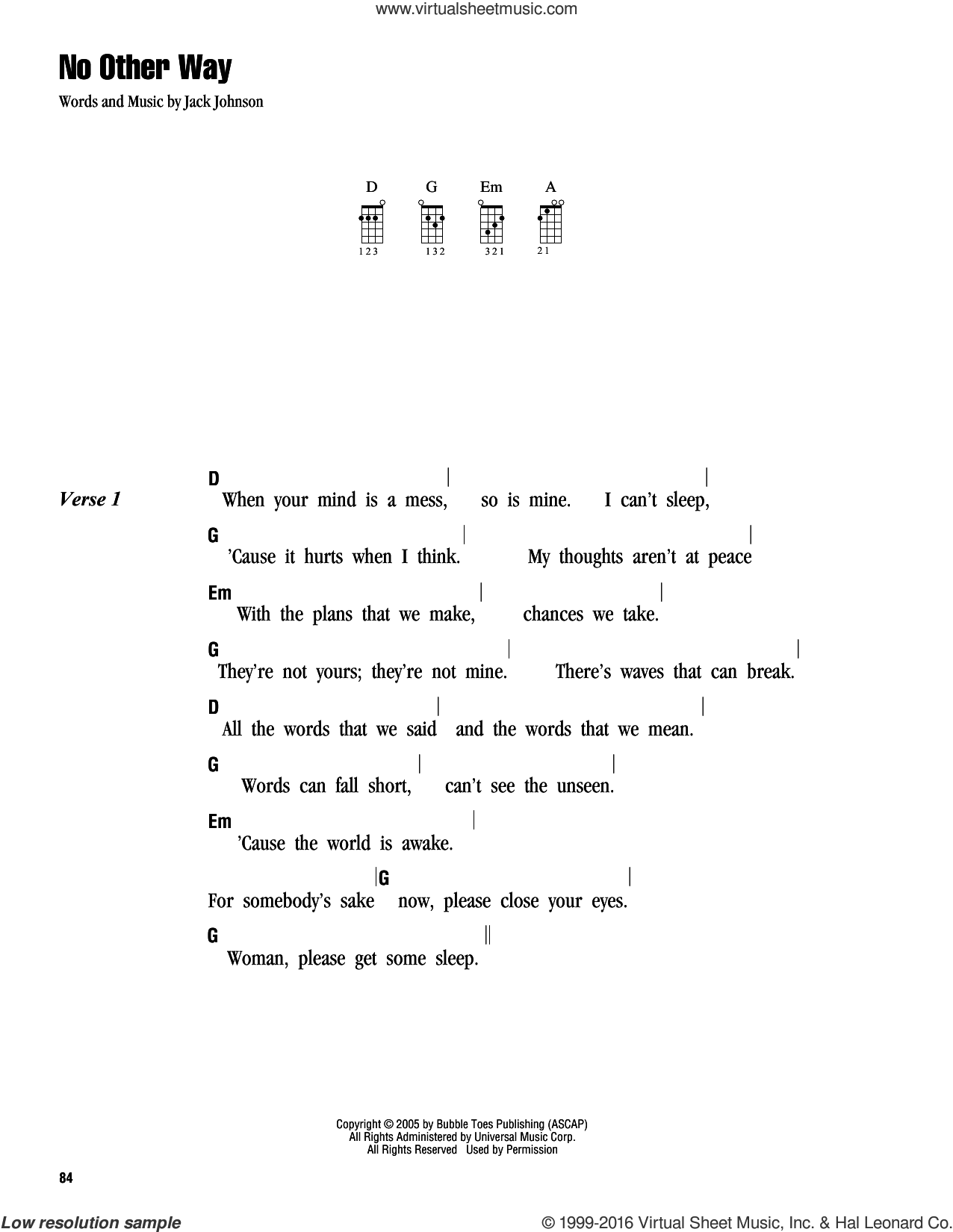 No Other Way sheet music for ukulele (chords) by Jack Johnson. Score Image Preview.