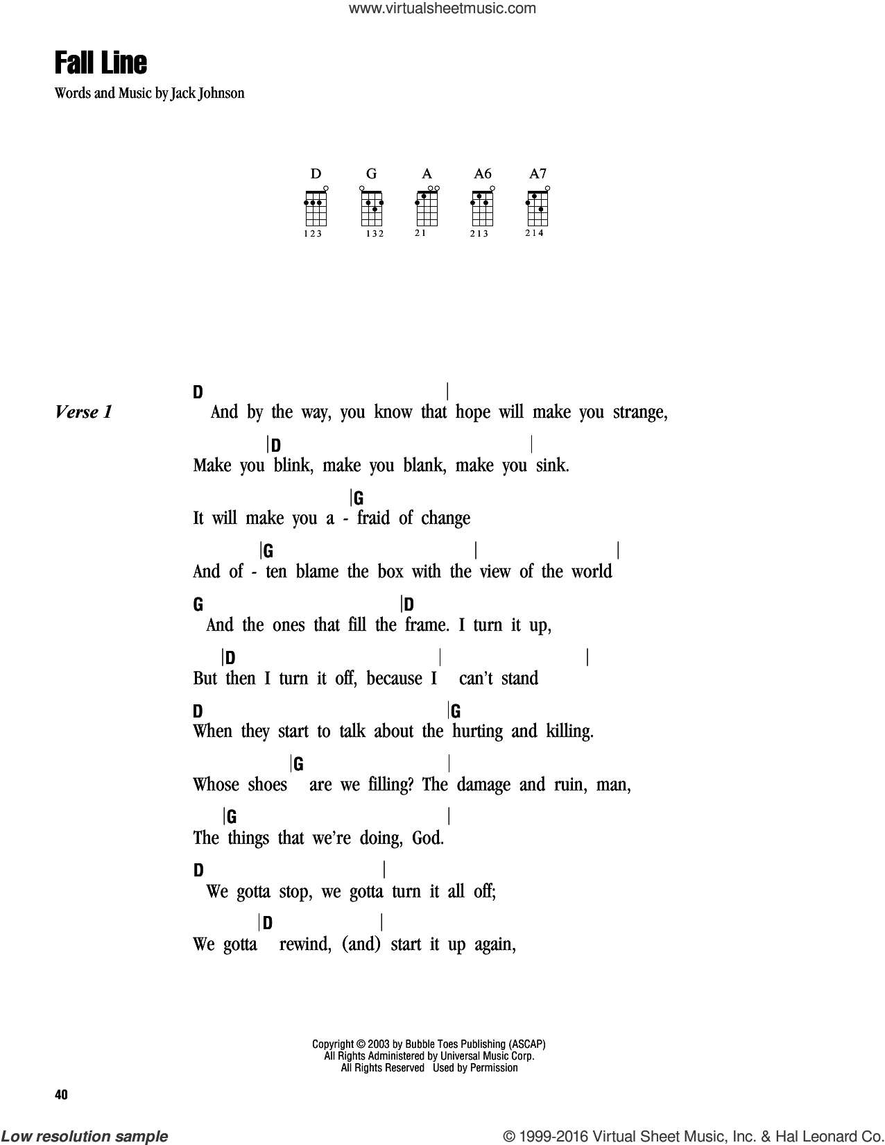 Fall Line sheet music for ukulele (chords) by Jack Johnson. Score Image Preview.