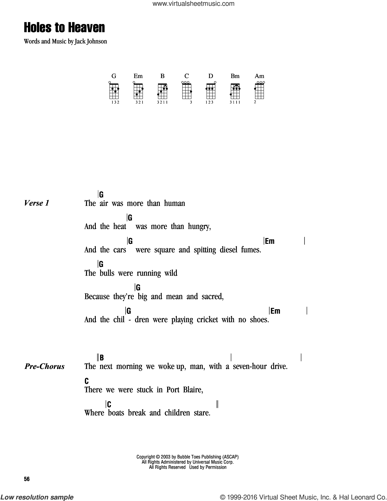 Holes To Heaven sheet music for ukulele (chords) by Jack Johnson. Score Image Preview.