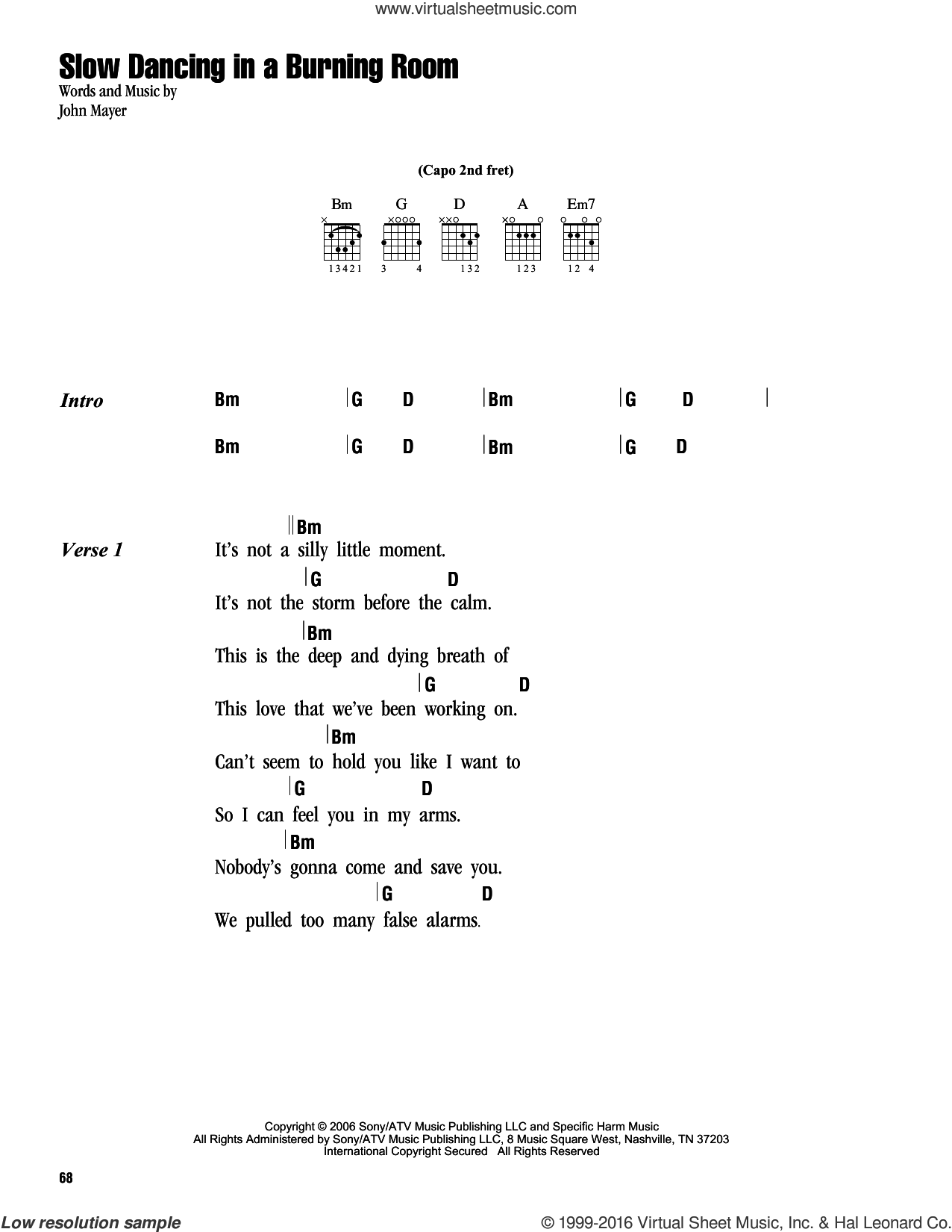 Slow Dancing In A Burning Room sheet music for guitar (chords) by John Mayer. Score Image Preview.