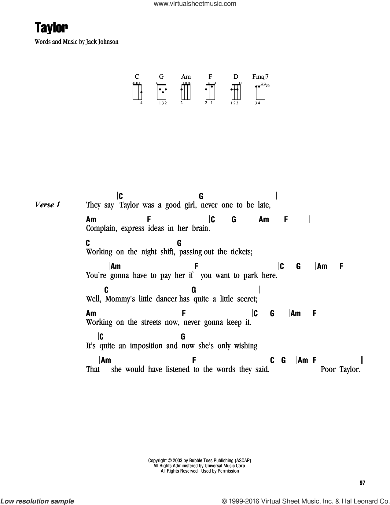 Taylor sheet music for ukulele (chords) by Jack Johnson. Score Image Preview.