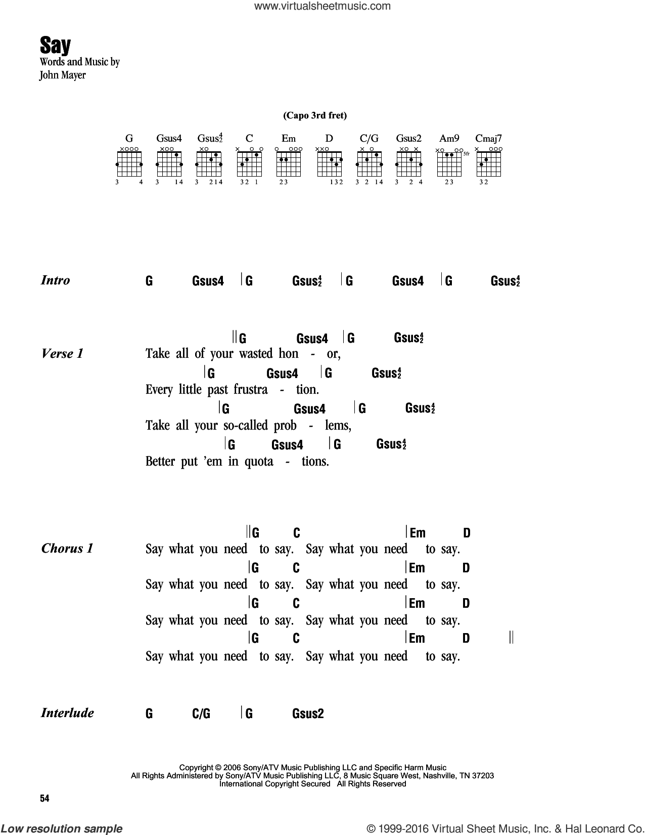 Say sheet music for guitar (chords) by John Mayer
