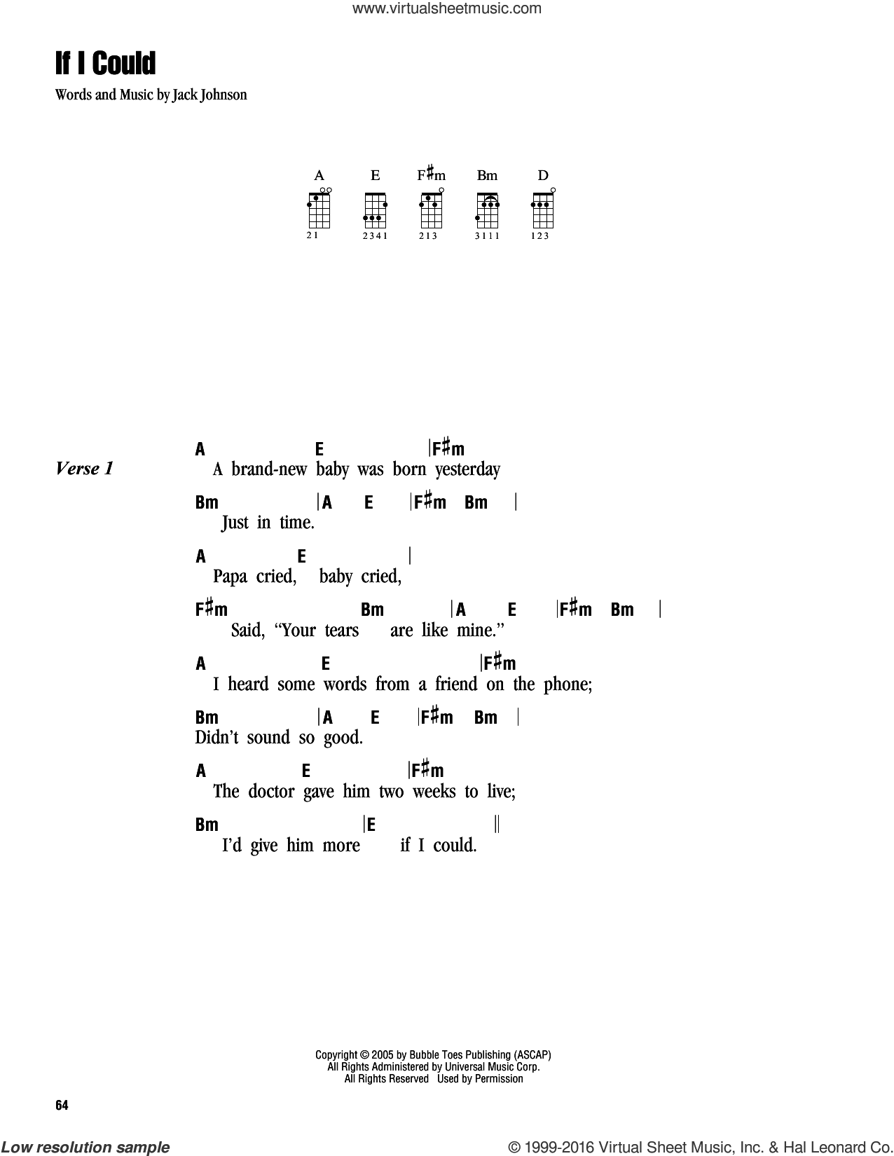 If I Could sheet music for ukulele (chords) by Jack Johnson. Score Image Preview.
