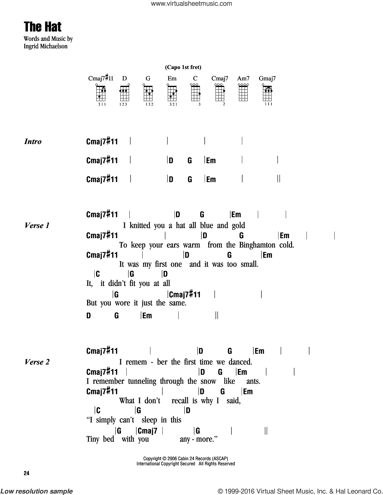The Hat sheet music for ukulele (chords) by Ingrid Michaelson, intermediate. Score Image Preview.