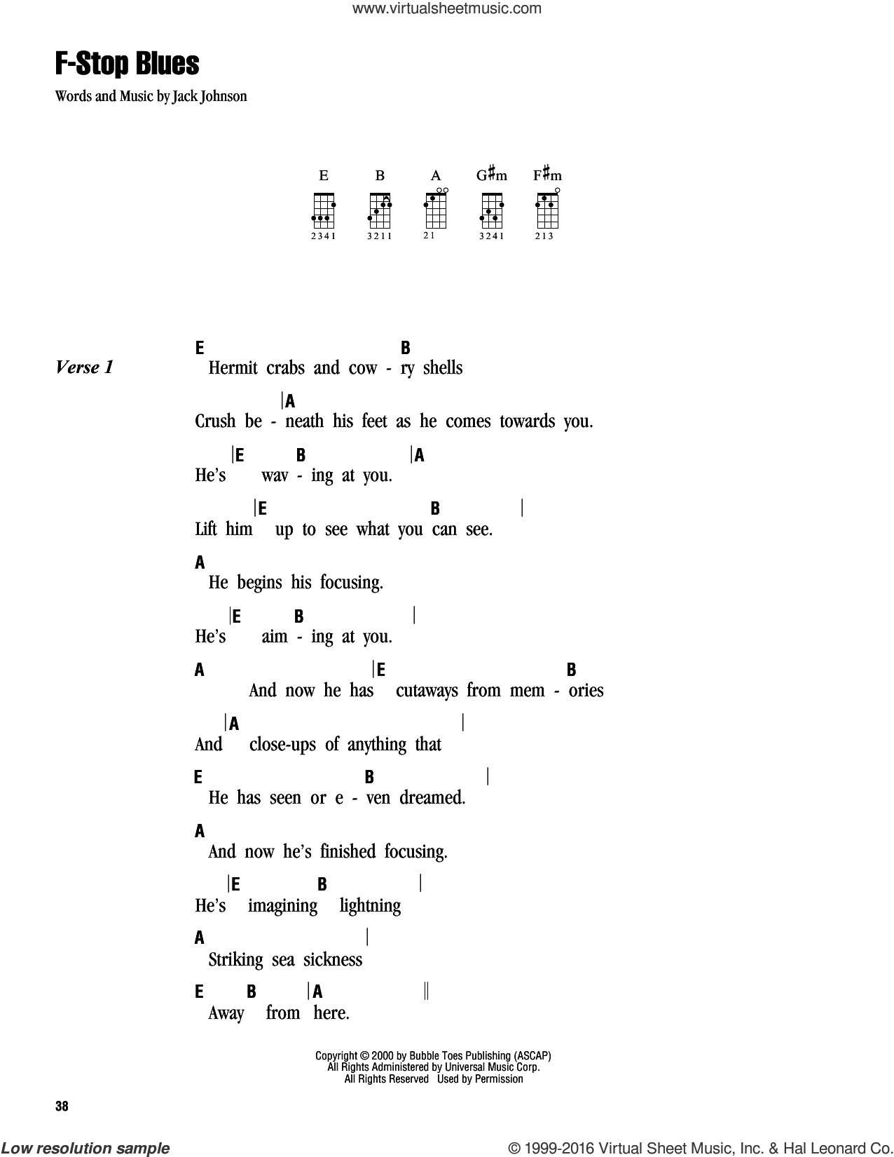 F-Stop Blues sheet music for ukulele (chords) by Jack Johnson, intermediate ukulele (chords). Score Image Preview.