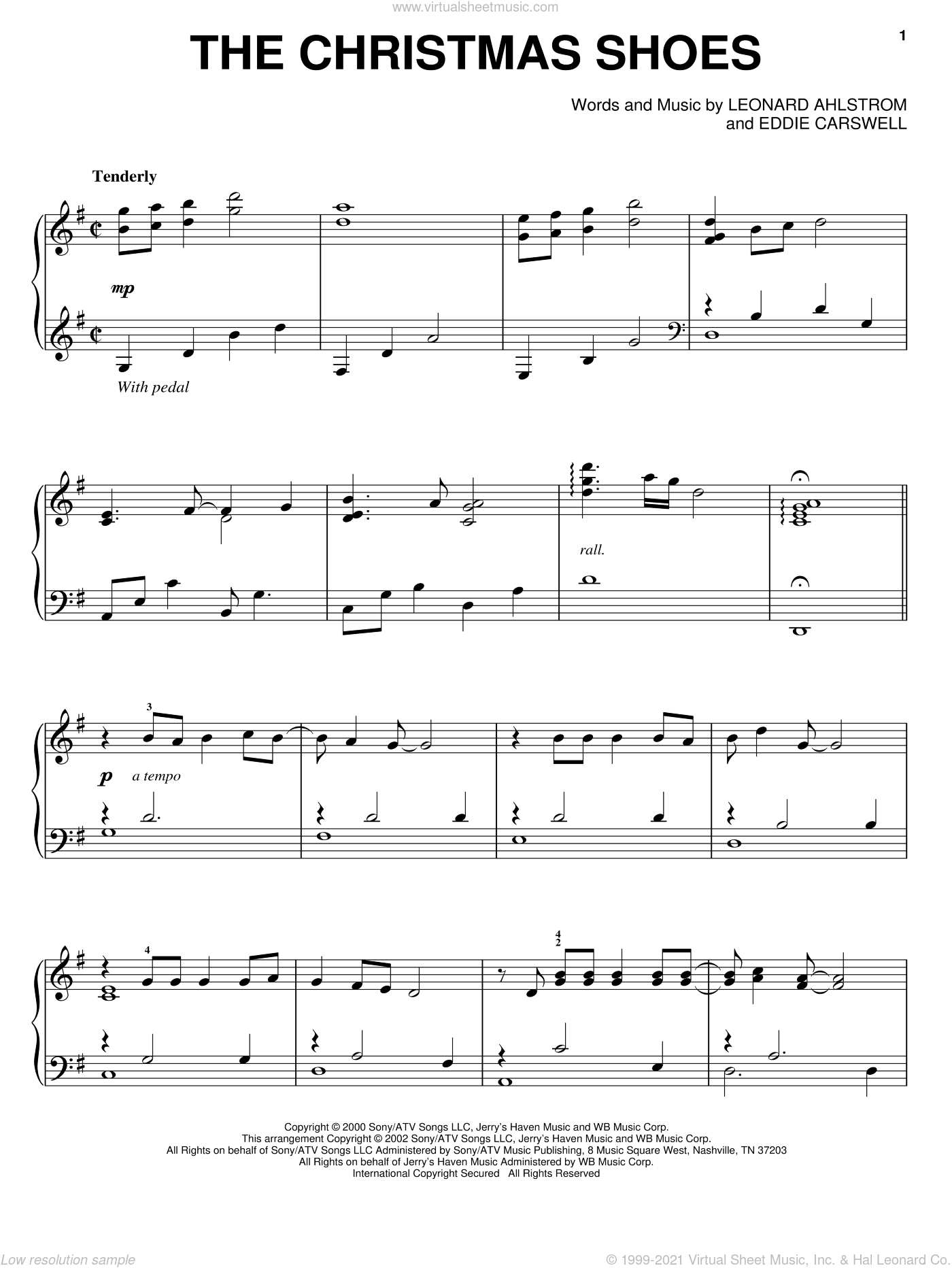 The Christmas Shoes sheet music for piano solo by 3 Of Hearts, Eddie Carswell and Leonard Ahlstrom, intermediate skill level