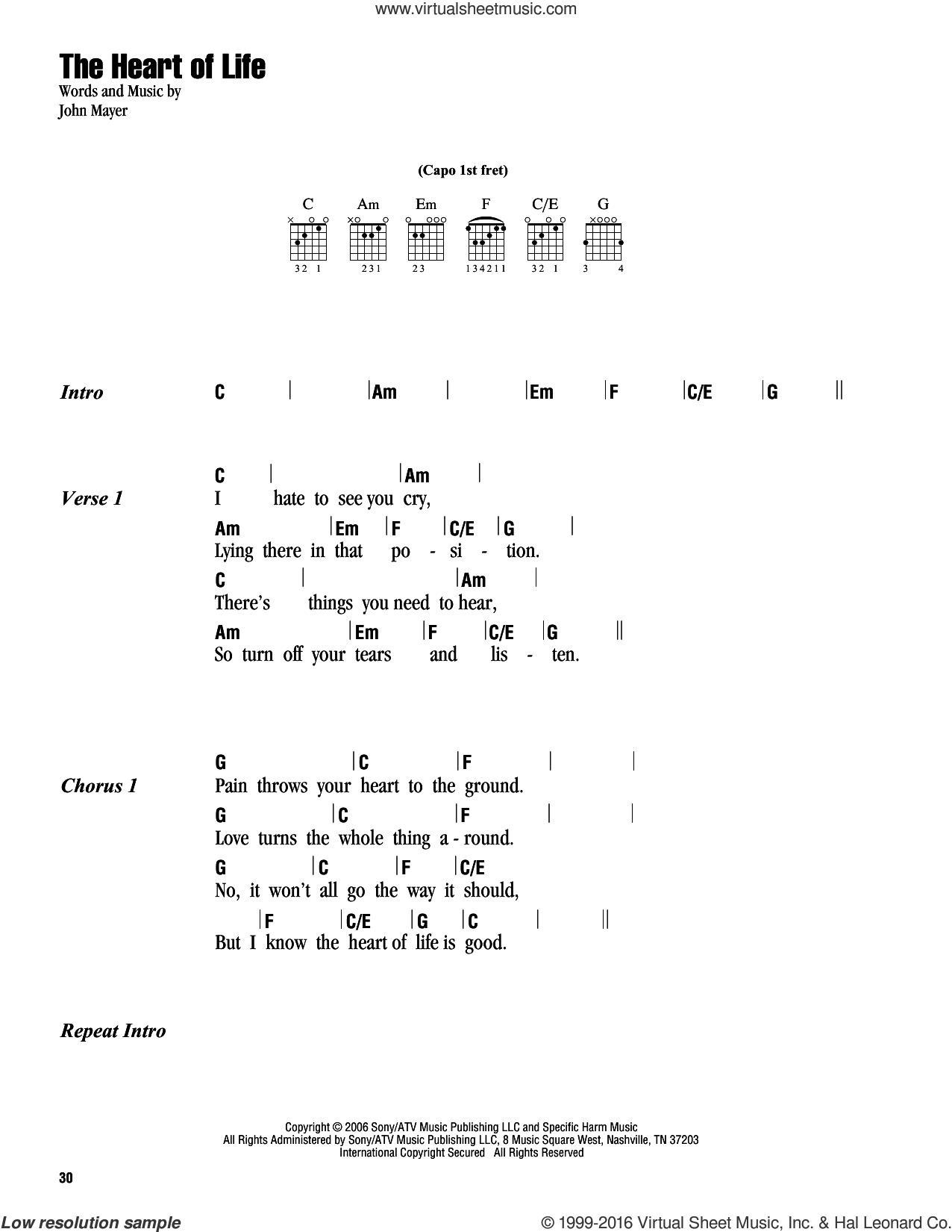 The Heart Of Life sheet music for guitar (chords) by John Mayer, intermediate. Score Image Preview.