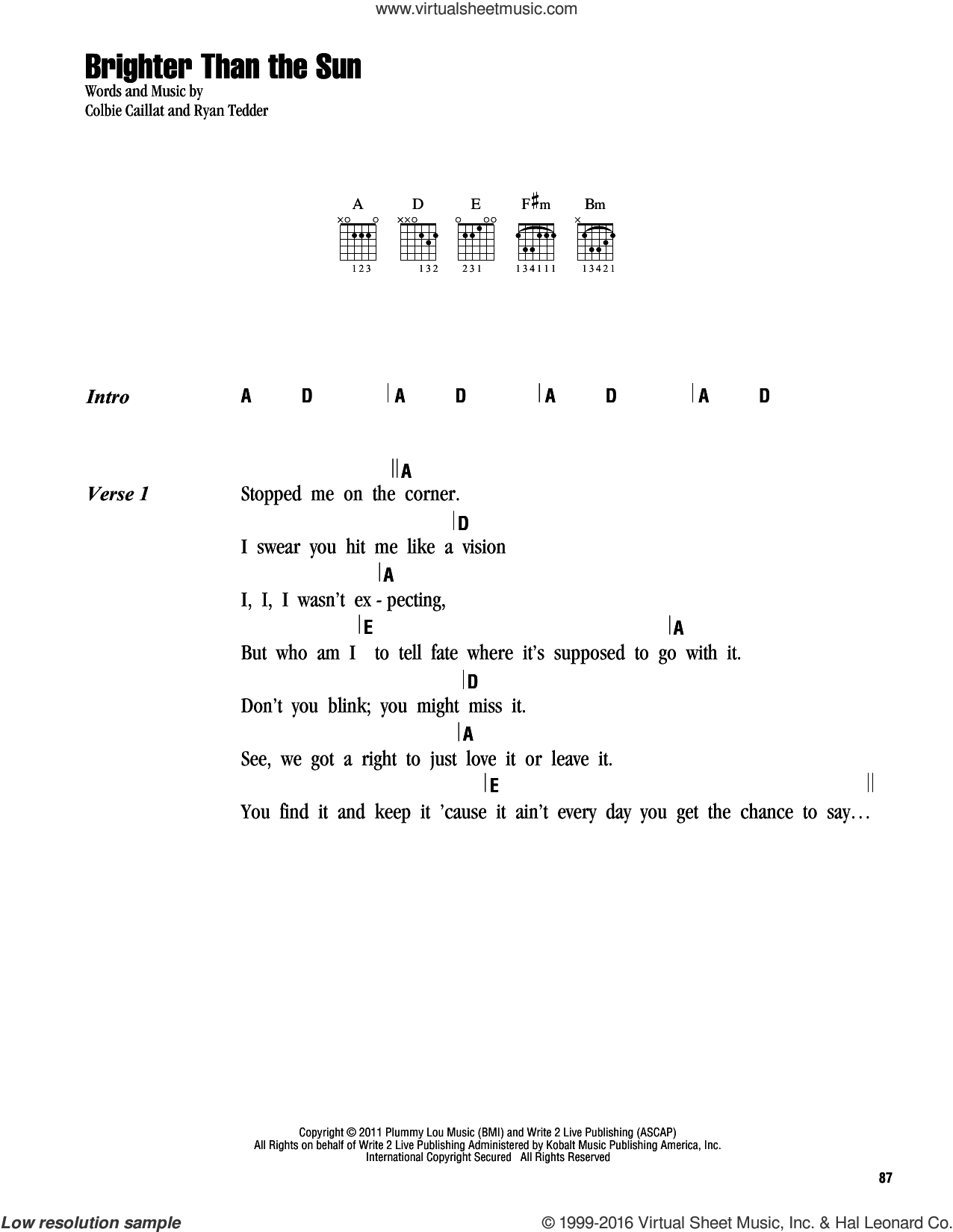 Brighter Than The Sun sheet music for guitar (chords) by Ryan Tedder and Colbie Caillat. Score Image Preview.