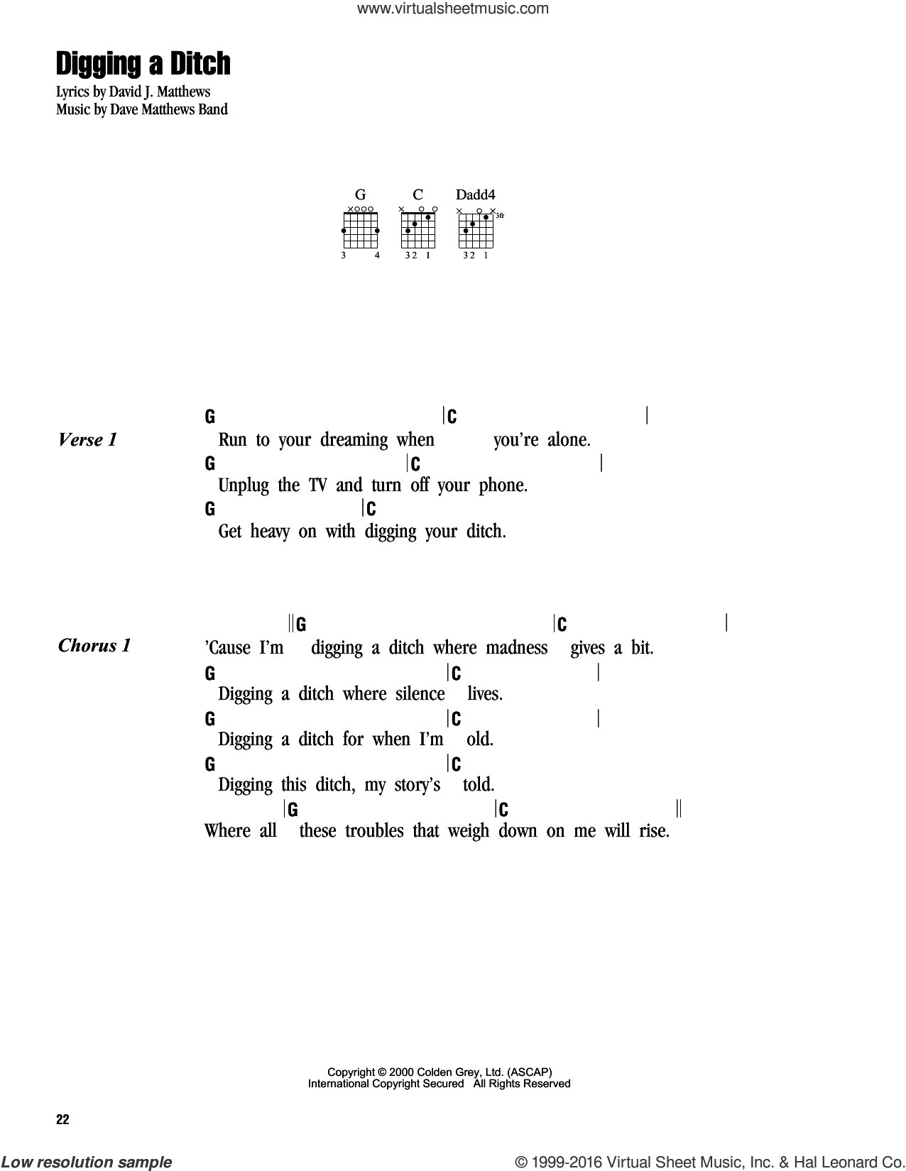 Digging A Ditch sheet music for guitar (chords) by Dave Matthews Band. Score Image Preview.