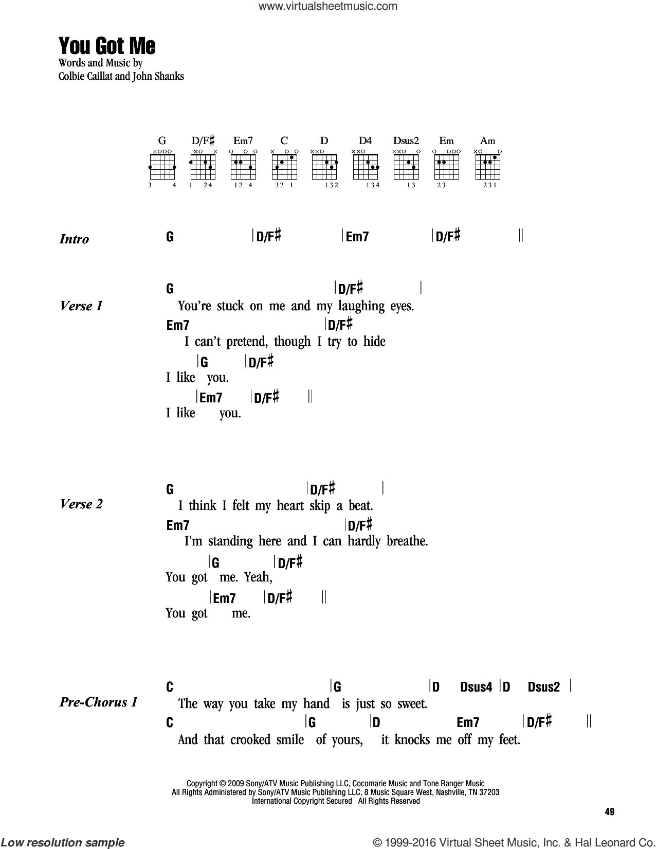 You Got Me sheet music for guitar (chords) by Colbie Caillat and John Shanks, intermediate skill level