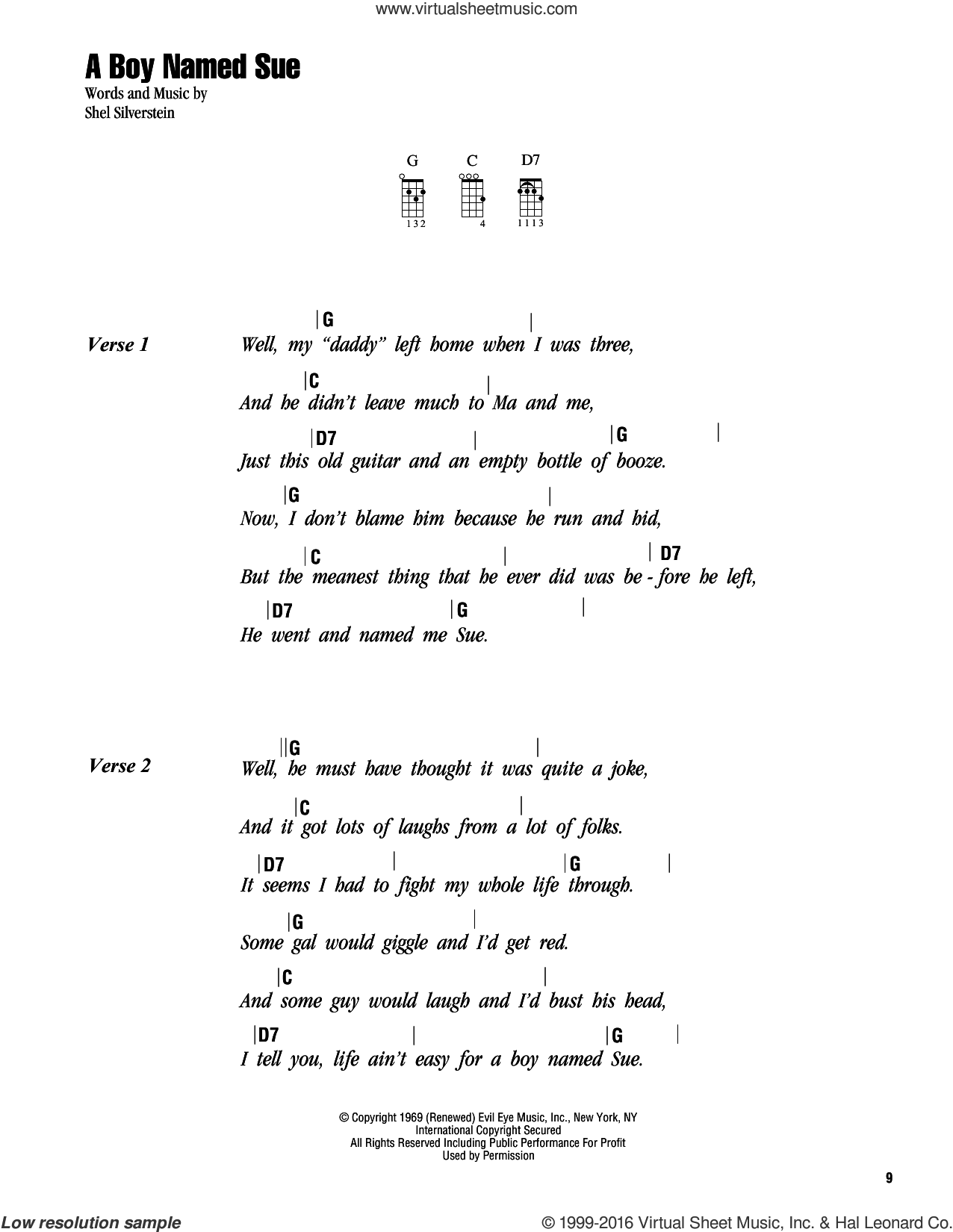 A Boy Named Sue sheet music for ukulele (chords) by Johnny Cash and Shel Silverstein, intermediate ukulele (chords). Score Image Preview.