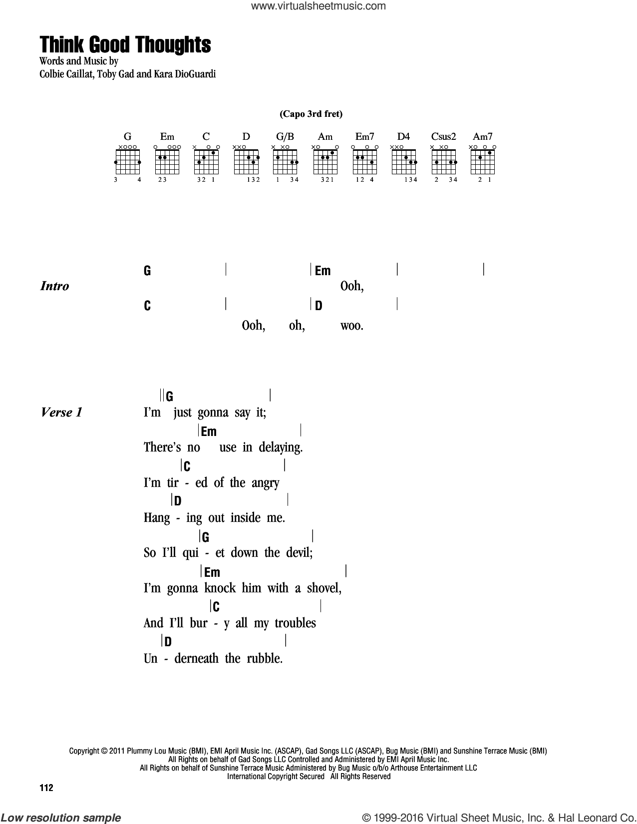 Think Good Thoughts sheet music for guitar (chords) by Colbie Caillat, Kara DioGuardi and Toby Gad, intermediate skill level