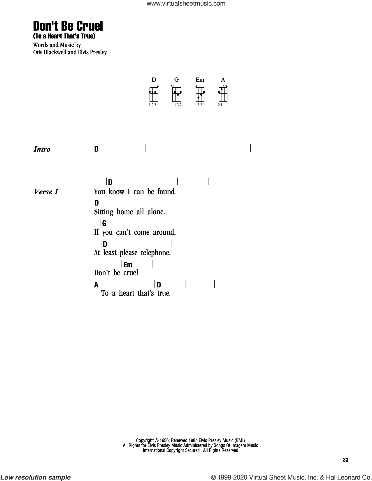 Don't Be Cruel (To A Heart That's True) sheet music for ukulele (chords) by Elvis Presley, Cheap Trick and Otis Blackwell, intermediate skill level