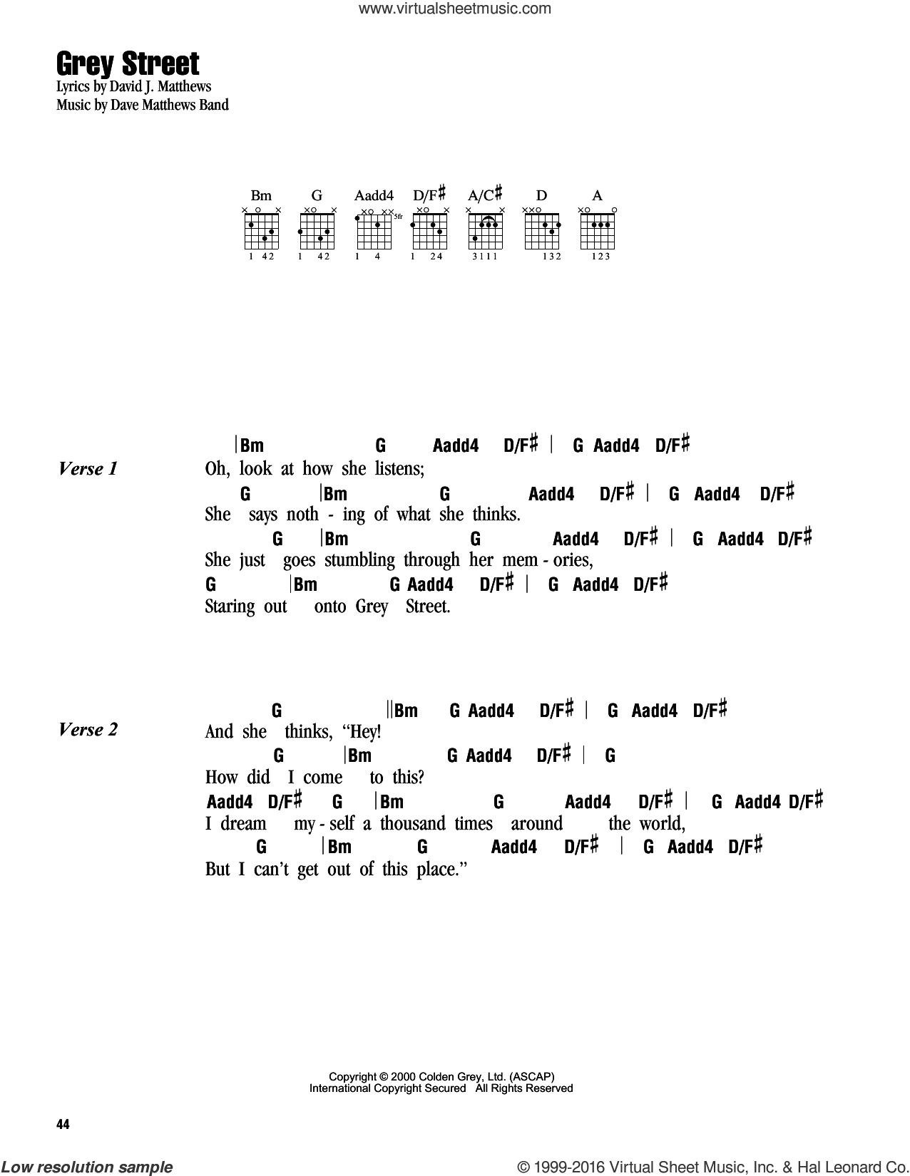 Grey Street sheet music for guitar (chords) by Dave Matthews Band. Score Image Preview.